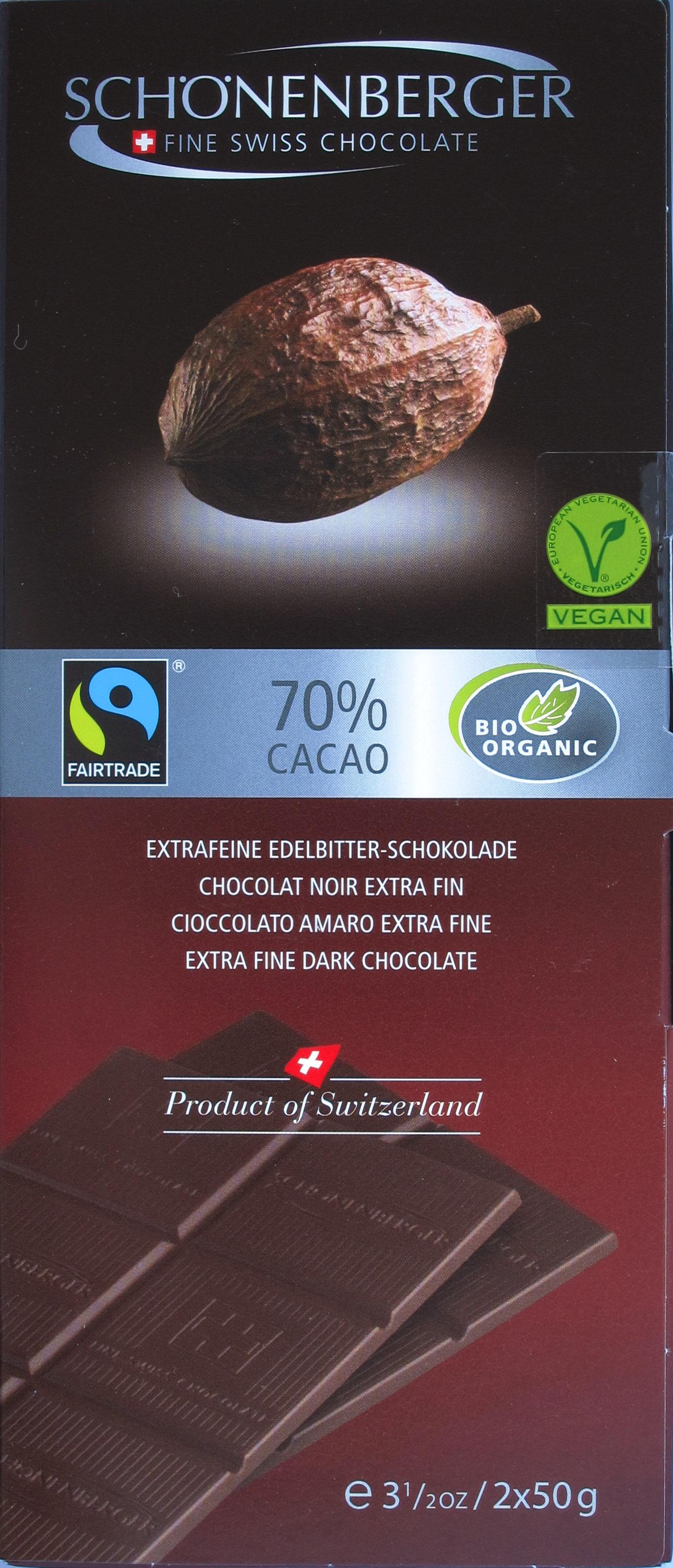 Schönenberger Schweizer 70%-Bitterschokolade