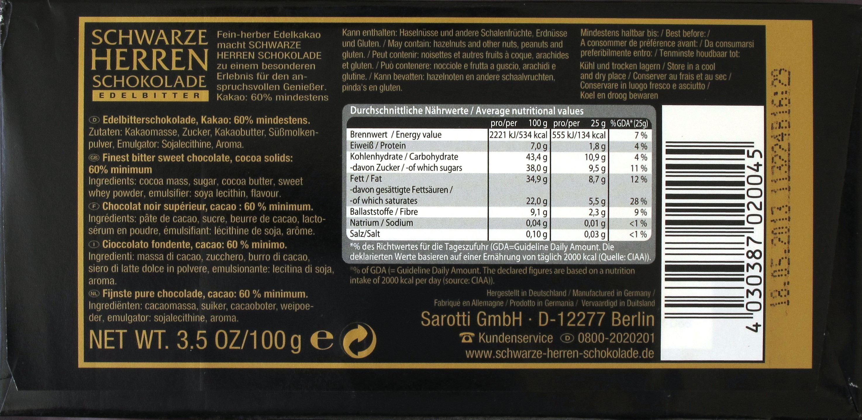 "Sarotti ""Schwarze Herren Schokolade"" - Inhaltsangaben"