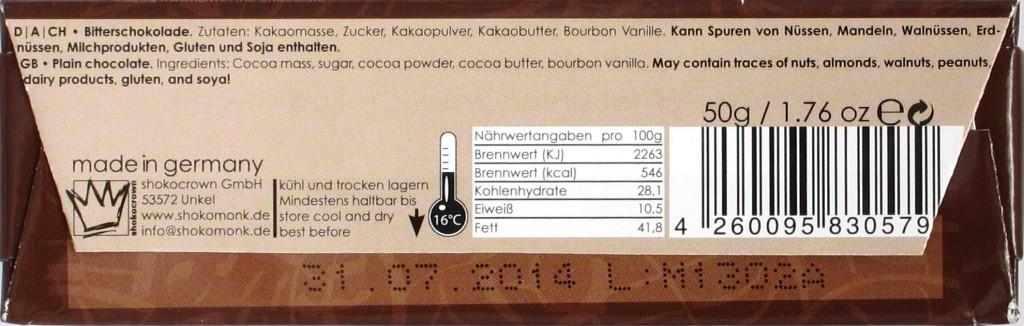 Shokomonk Schokoriegel Extrabitter 77%, Rückseite
