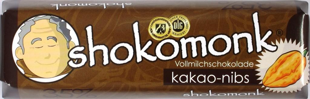 Shokomonk-Riegel Vollmilchschokolade mit Kakaosplittern