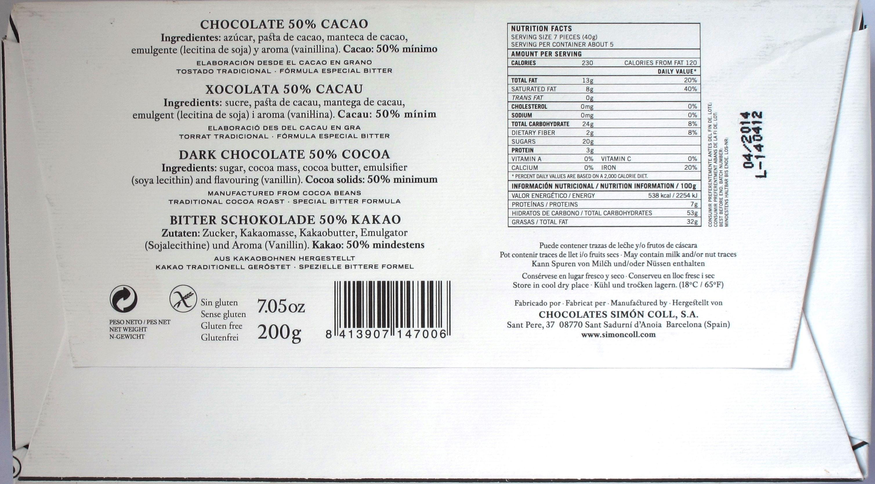 Inhaltsangaben Simón Coll 50%-Schokolade 200g