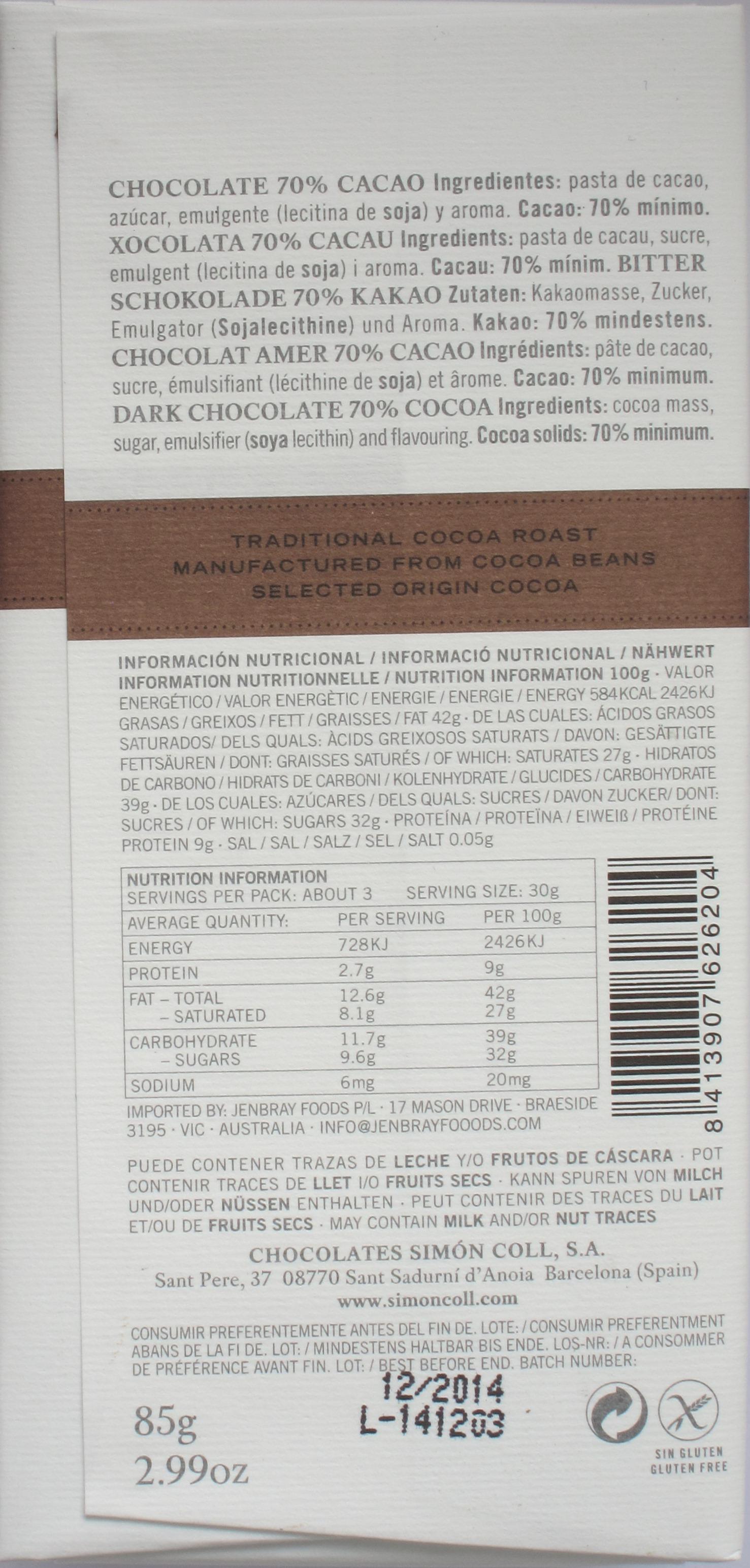 Rückseite von Simón Colls 70%iger Dunkler Schokolade