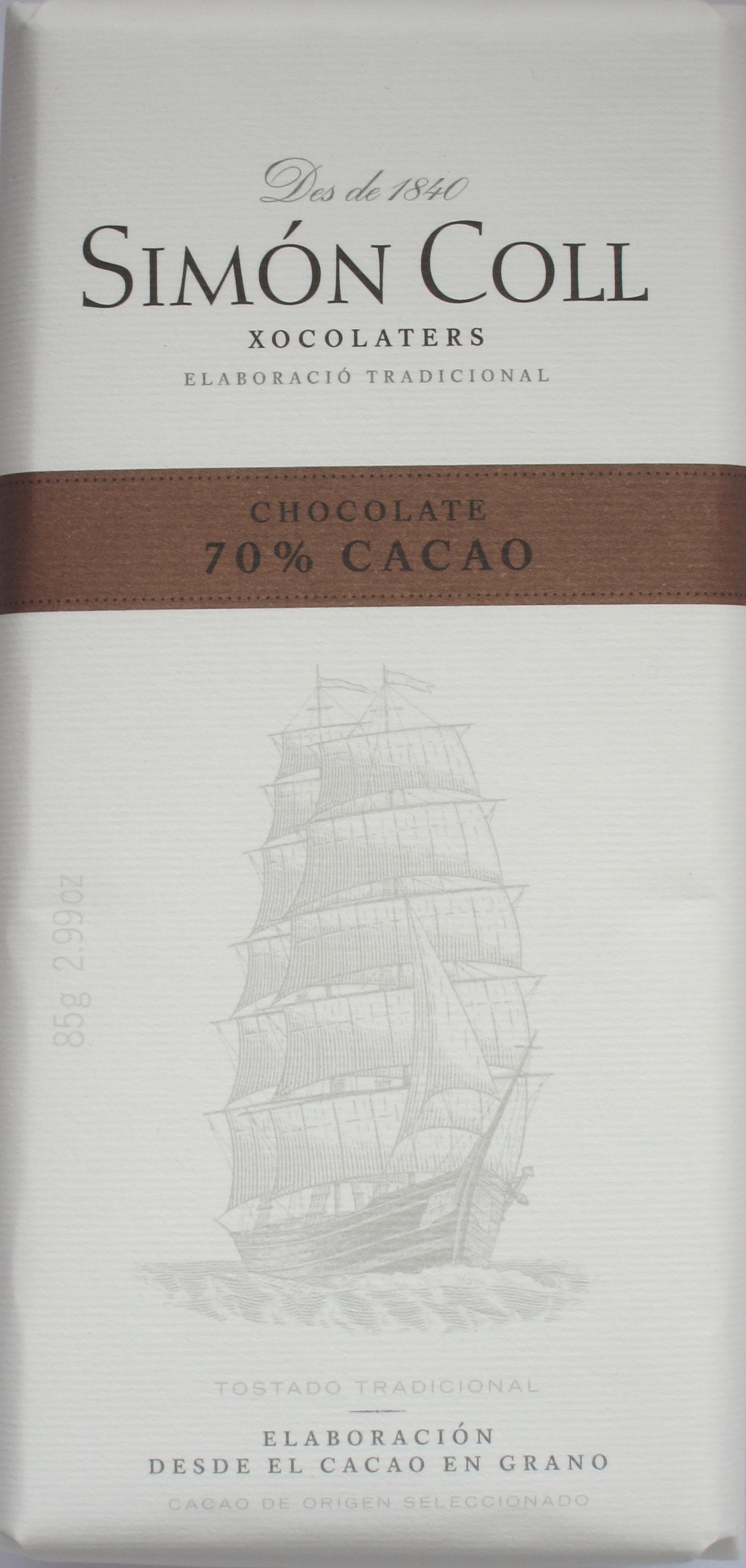 Umschlag von Simón Colls 70%iger Dunkler Schokolade