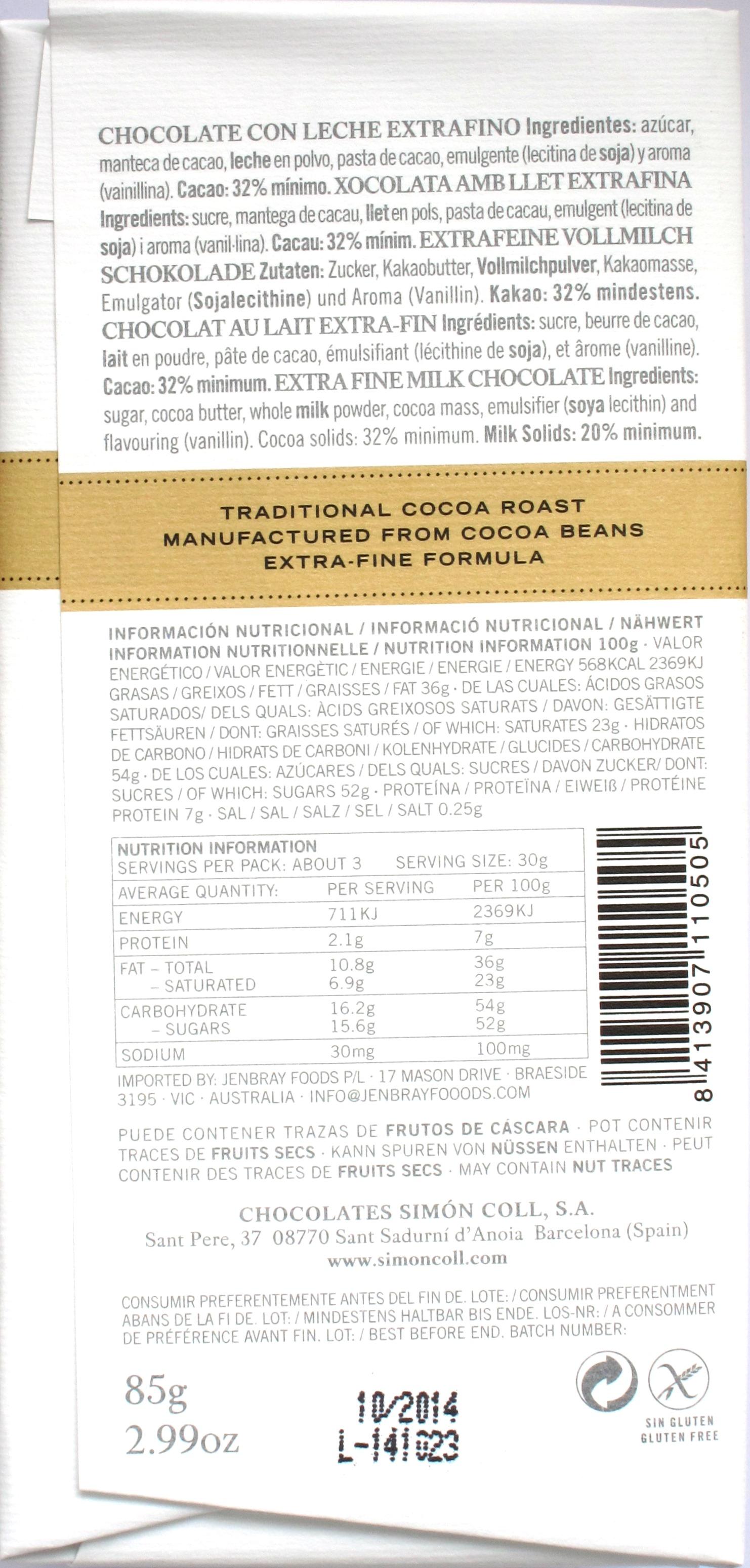 Rückseite: Simón Coll Milchschokolade