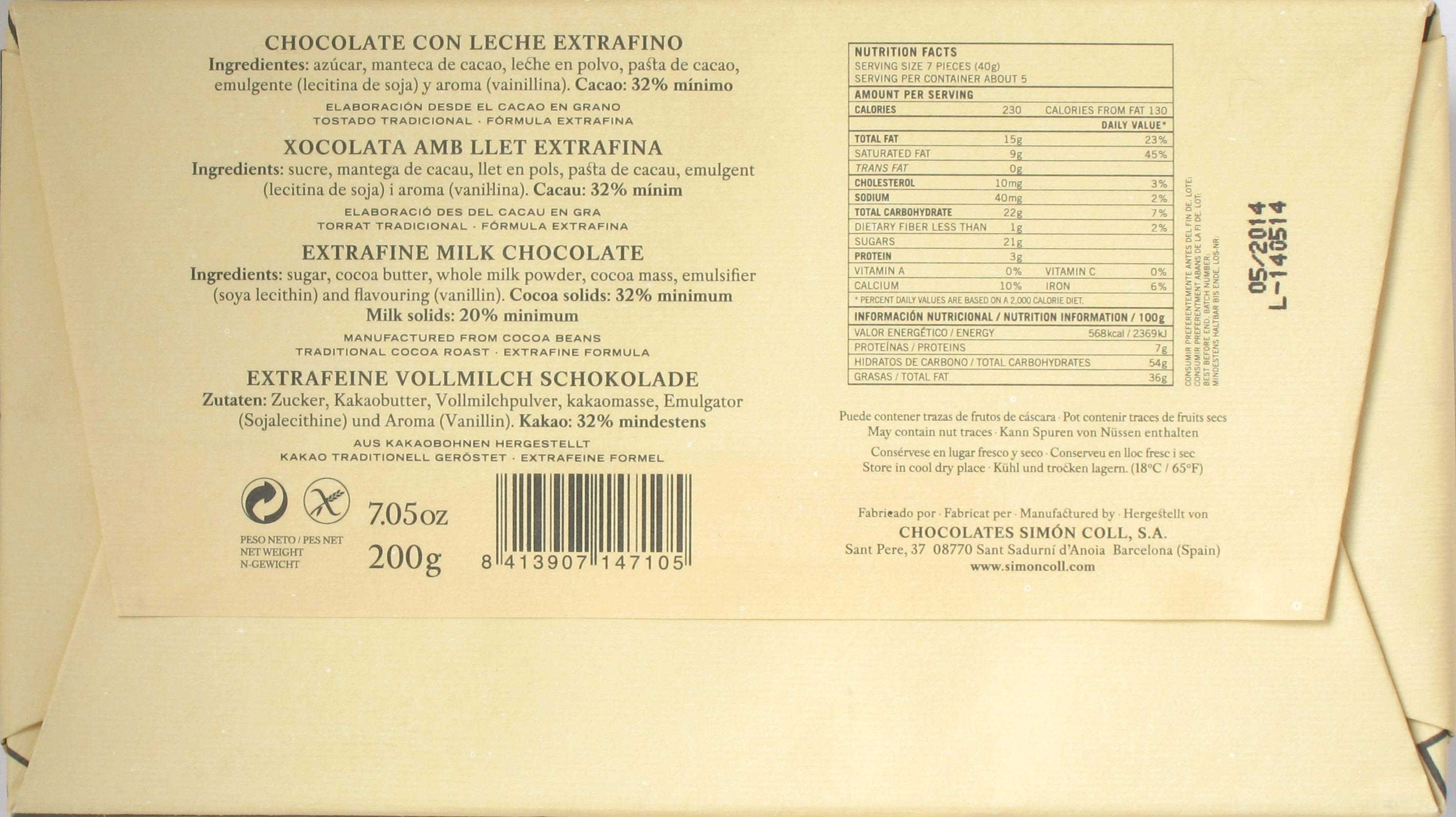 Rückseite: Simón Coll Milch-Trinkschokolade