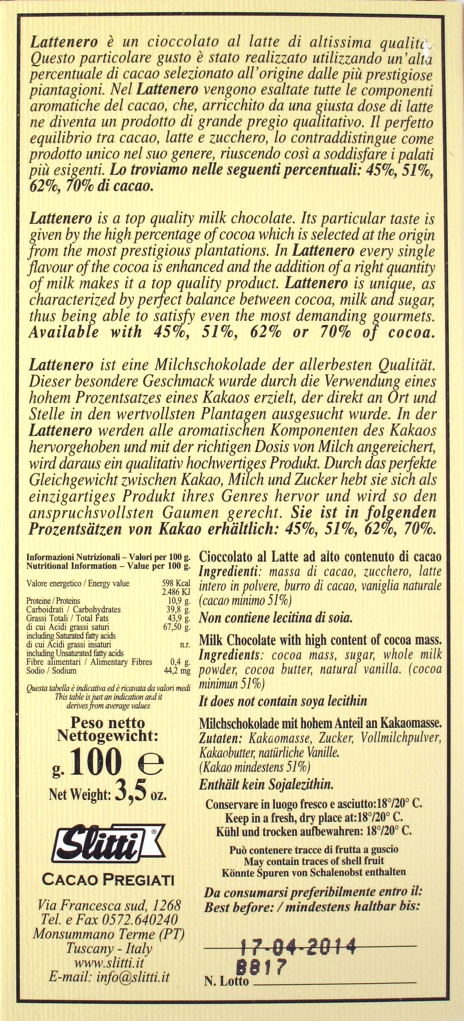 Slitti Lattenero 51%: Rückseite