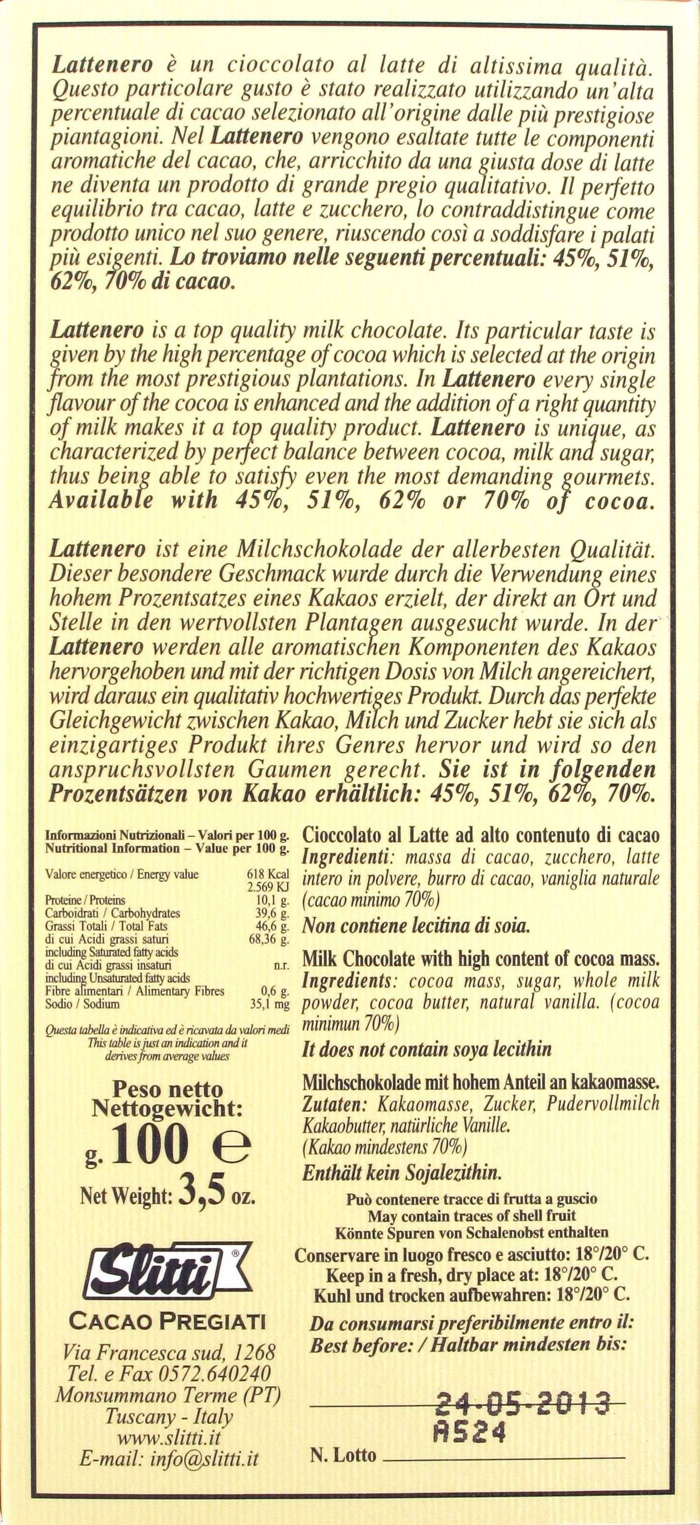 Slitti Lattenero 70%: Rückseite