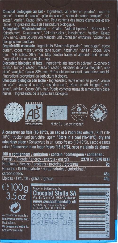 Stella/Bernrain 38% Milchschokolade, Inhalt