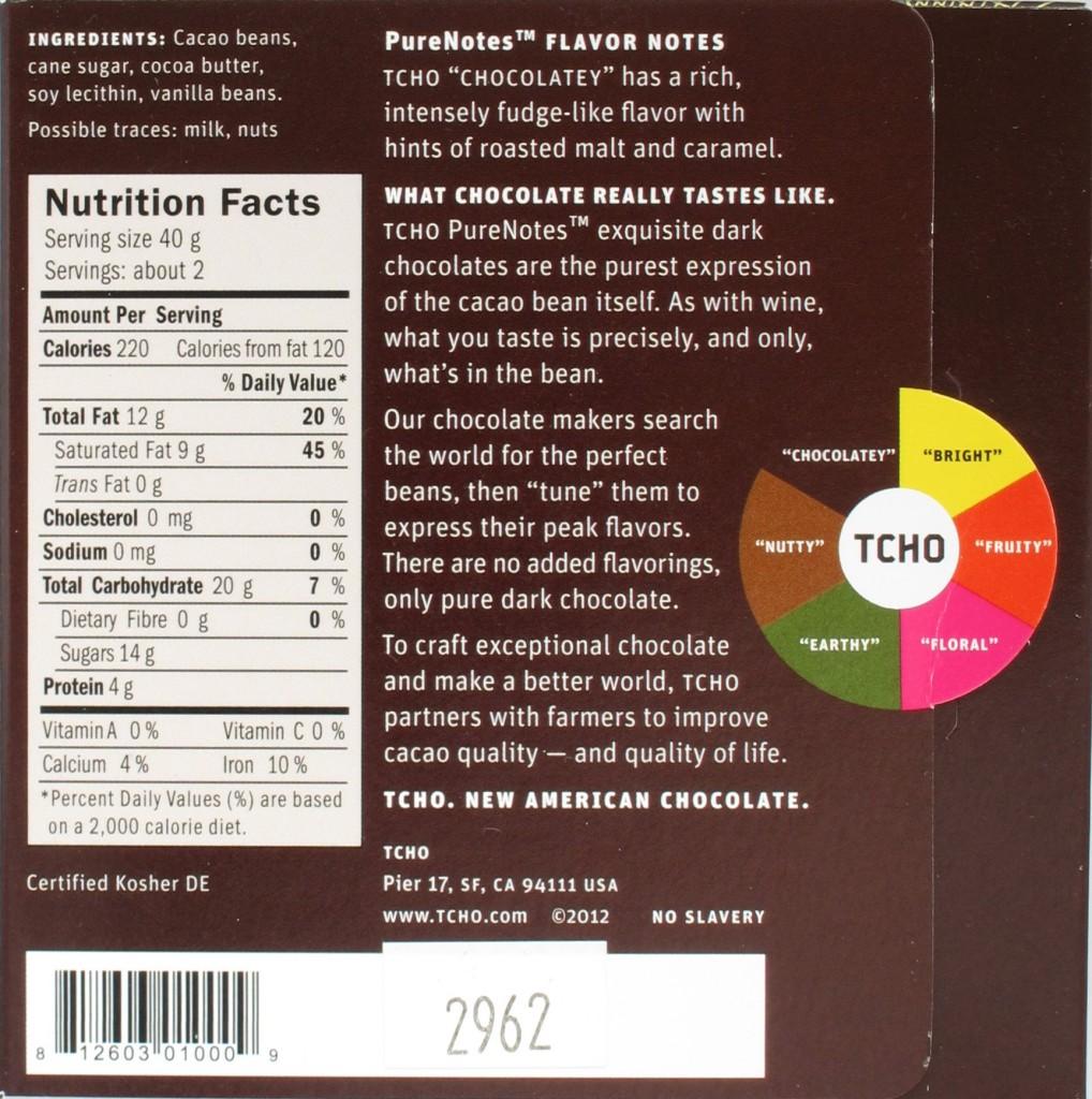 TCHO 70% Chocolatey - Rückseite