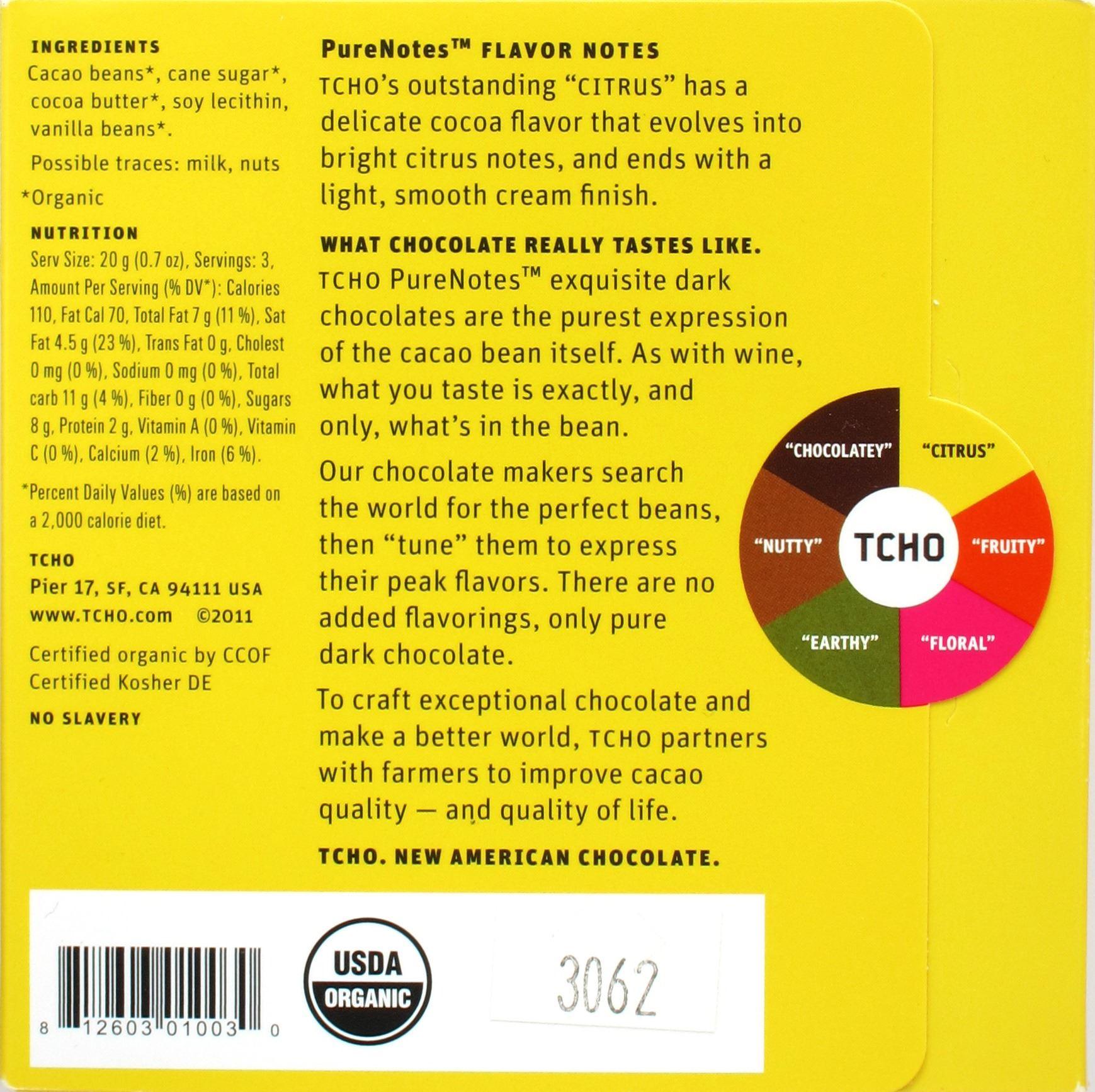 Rückseite TCHO Citrus, 67%, Madagaskar-Schokolade