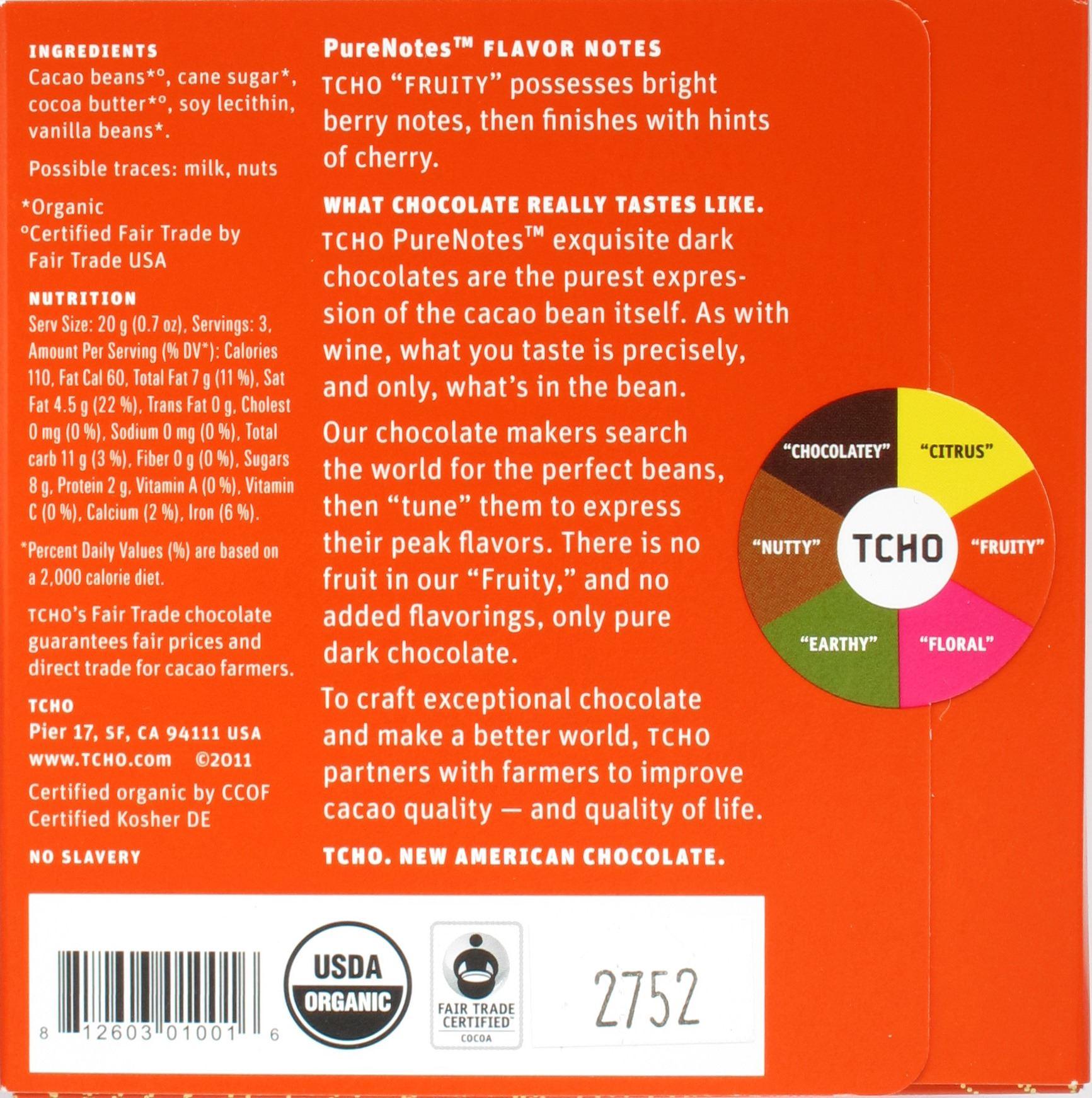"""Inhaltsangaben von TCHOs 68%iger Peru-Schokolade """"Fruity"""""""