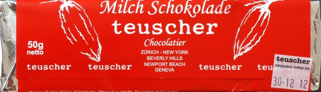 Teuscher, Schweizer Milchschokolade (Rückseite)