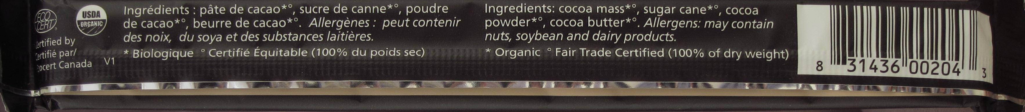 Theobroma Chocolat (Quebec, Kanada) - 80%, Pur - Inhaltsangaben