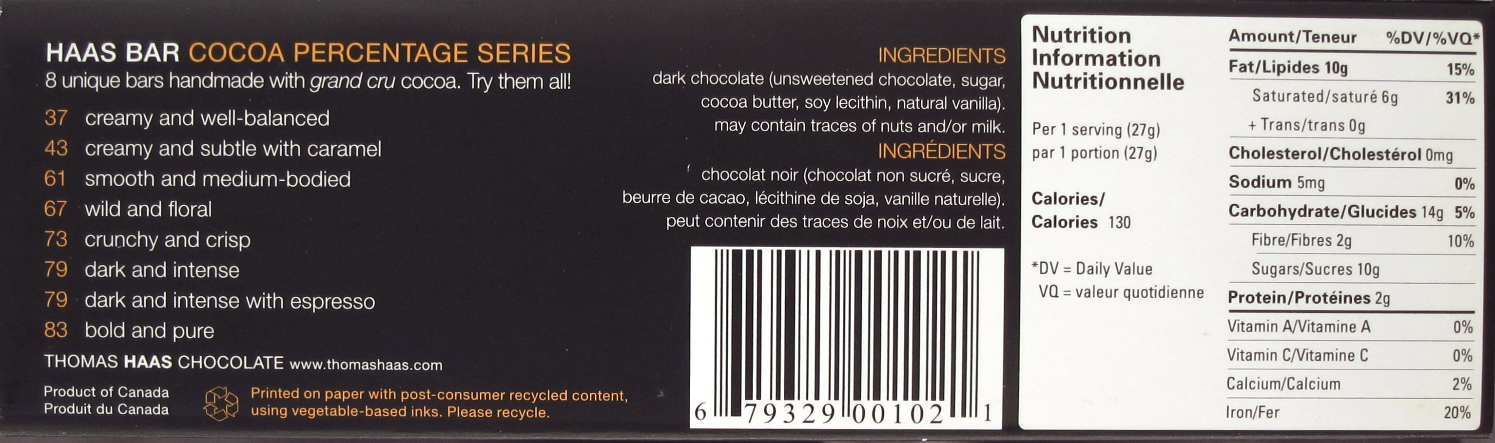 Thomas Haas Criollo-Schokolade 61% - Inhaltsangaben