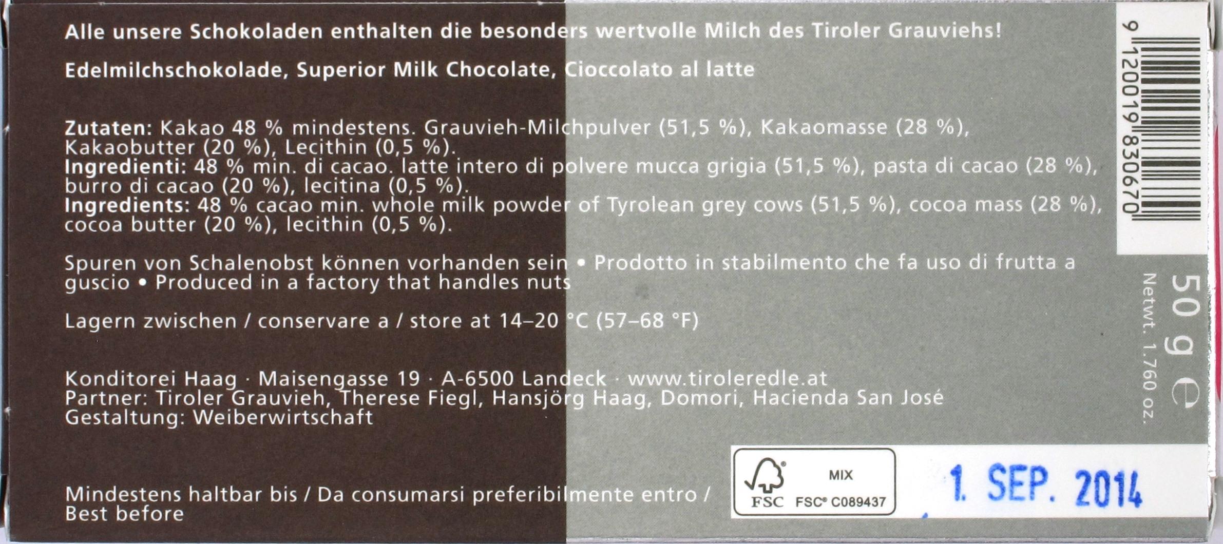 Inhaltsangaben: Purissima Maxima 48% von Tiroler Edle