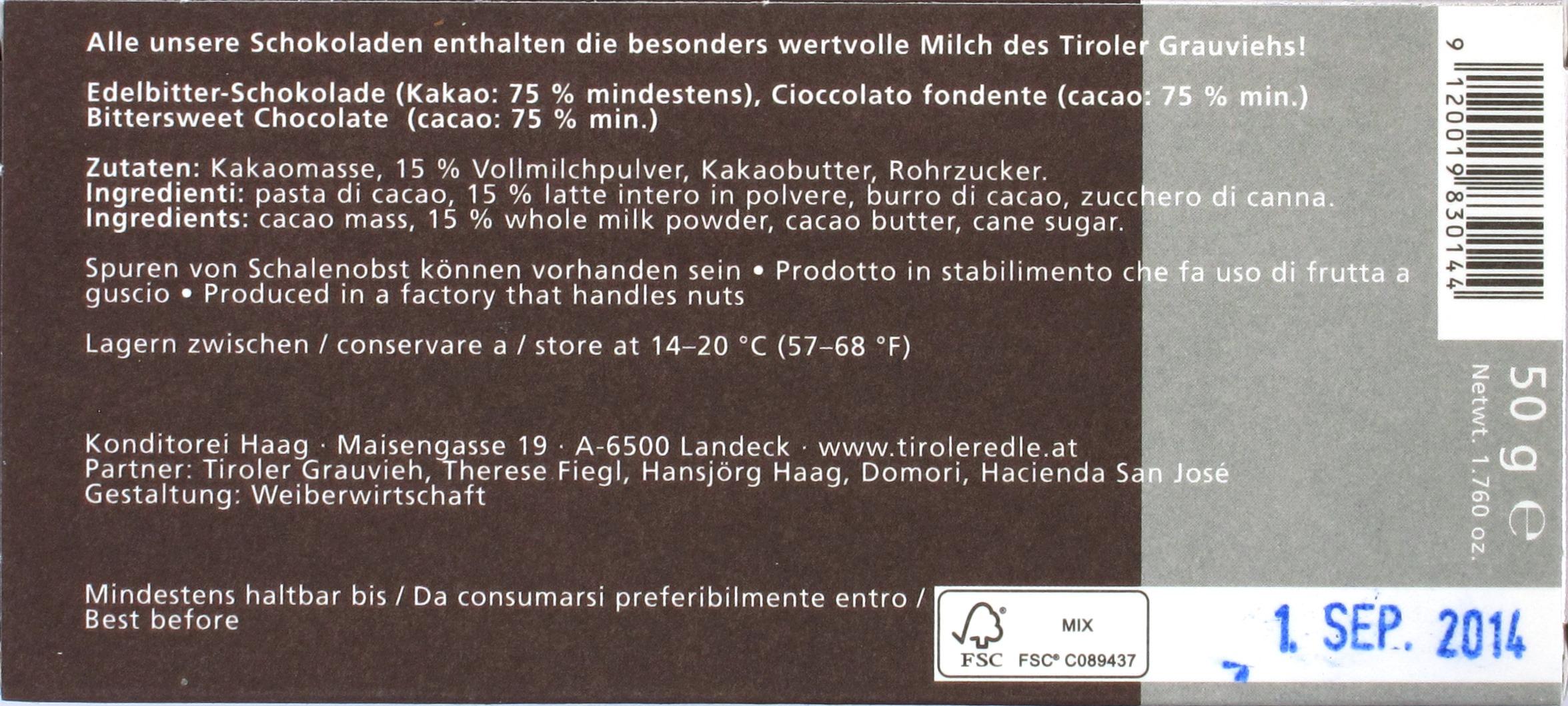 Tiroler Edle Grauvieh-Rio-Caribe-75%-Bittermilchschokolade, Rückseite