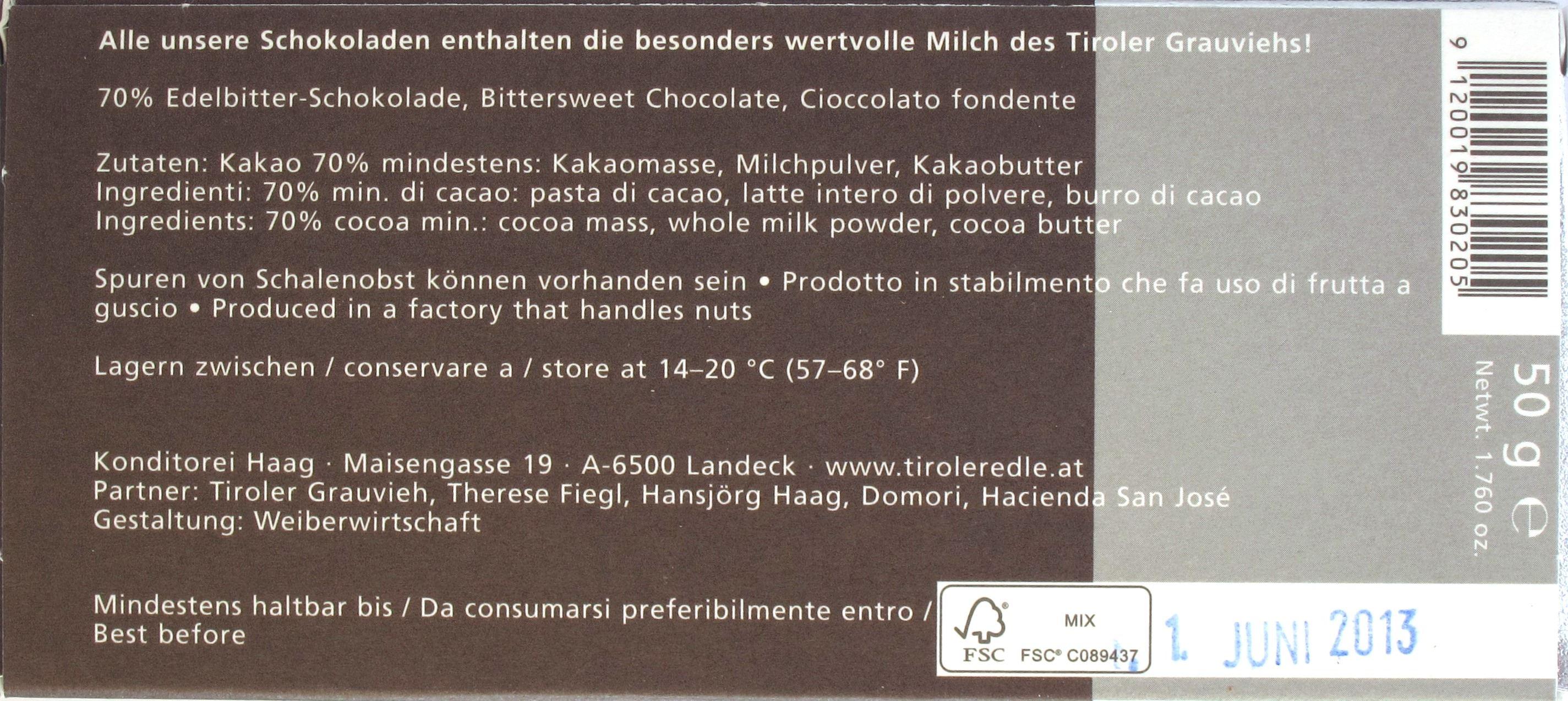 Tiroler Edle 70% Ohne Zucker - ohne Zucker