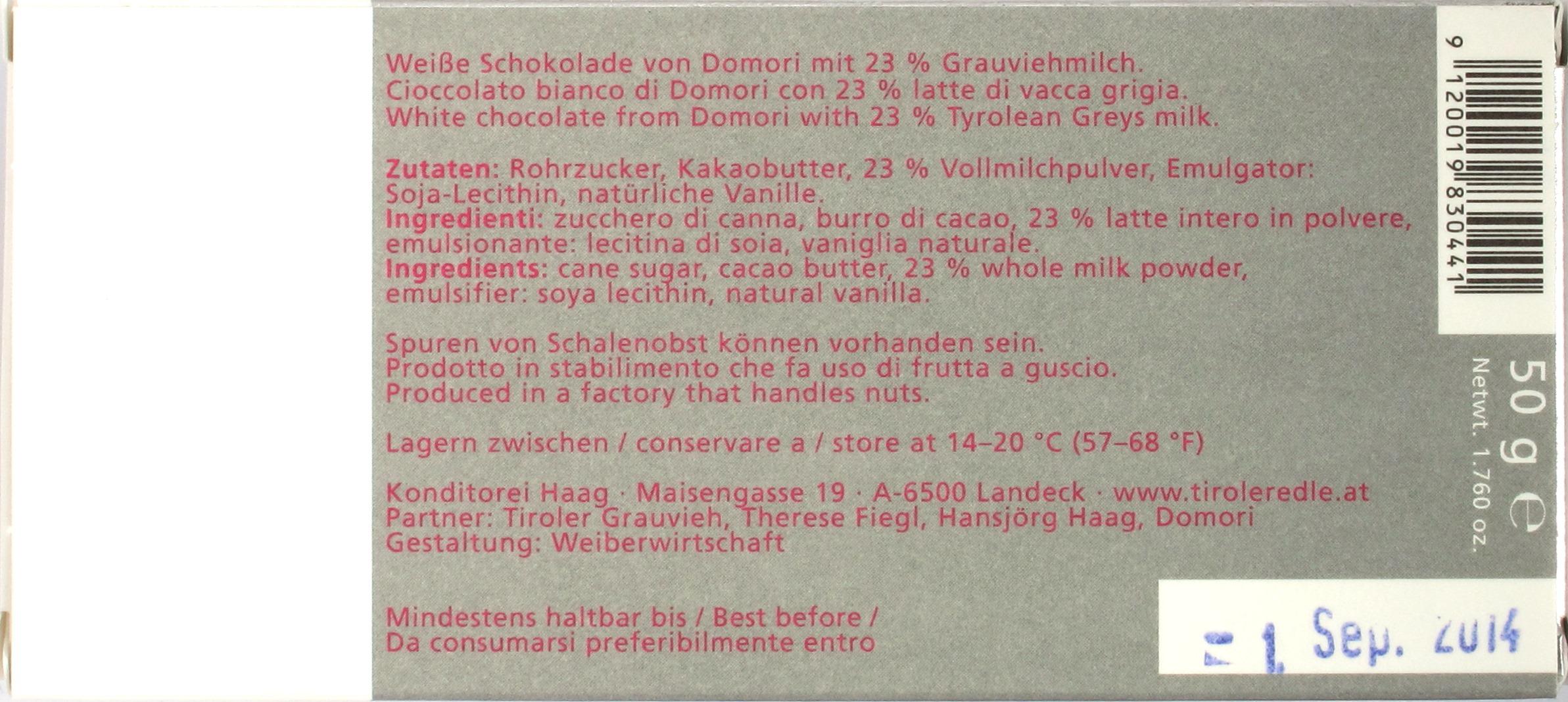 "Tiroler Edle ""Weiss Purissima"" - Rückseite"