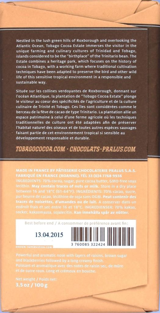 Tobago Estate Chocolate W.J. 70% - Rückseite