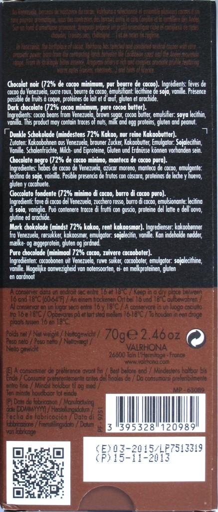 Rückseite, Bitterschokolade Valrhona Araguani