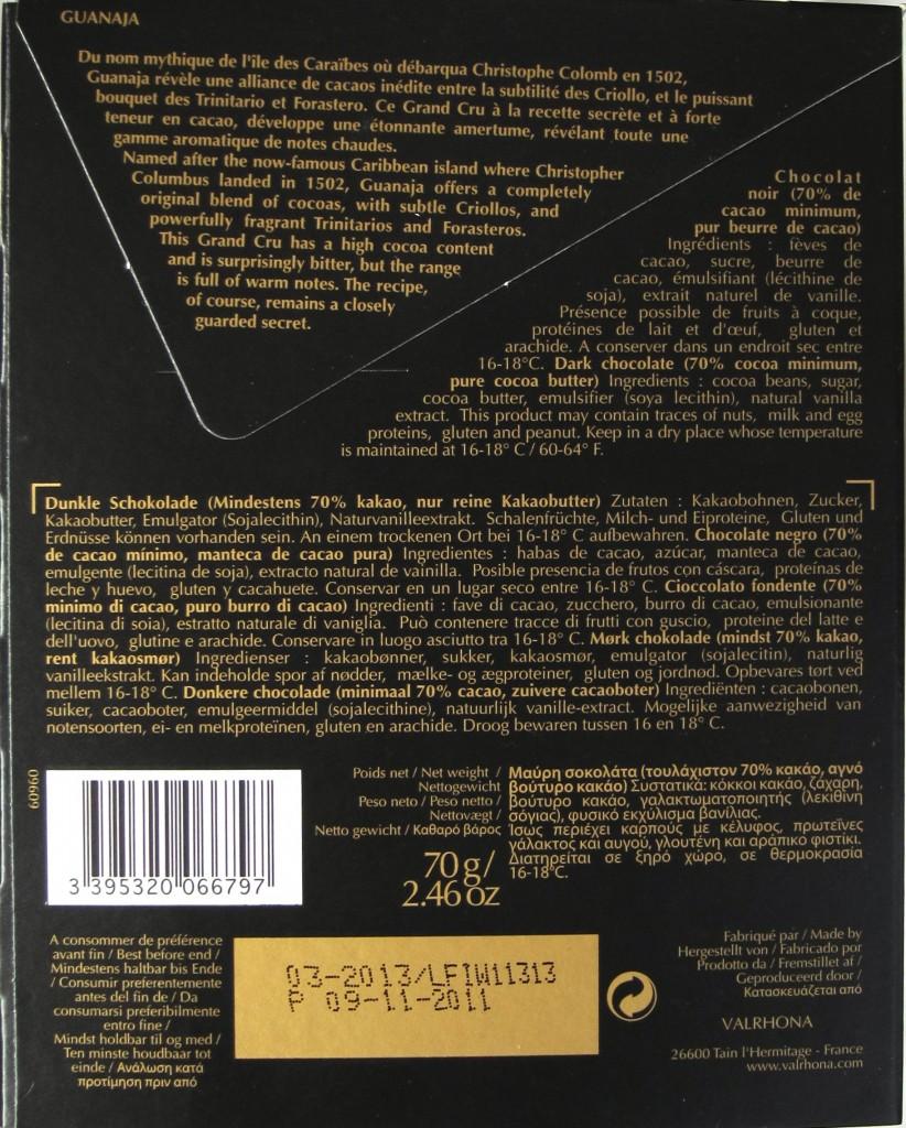 Schokoladentafel Valrhona Guanaja - Rückseite