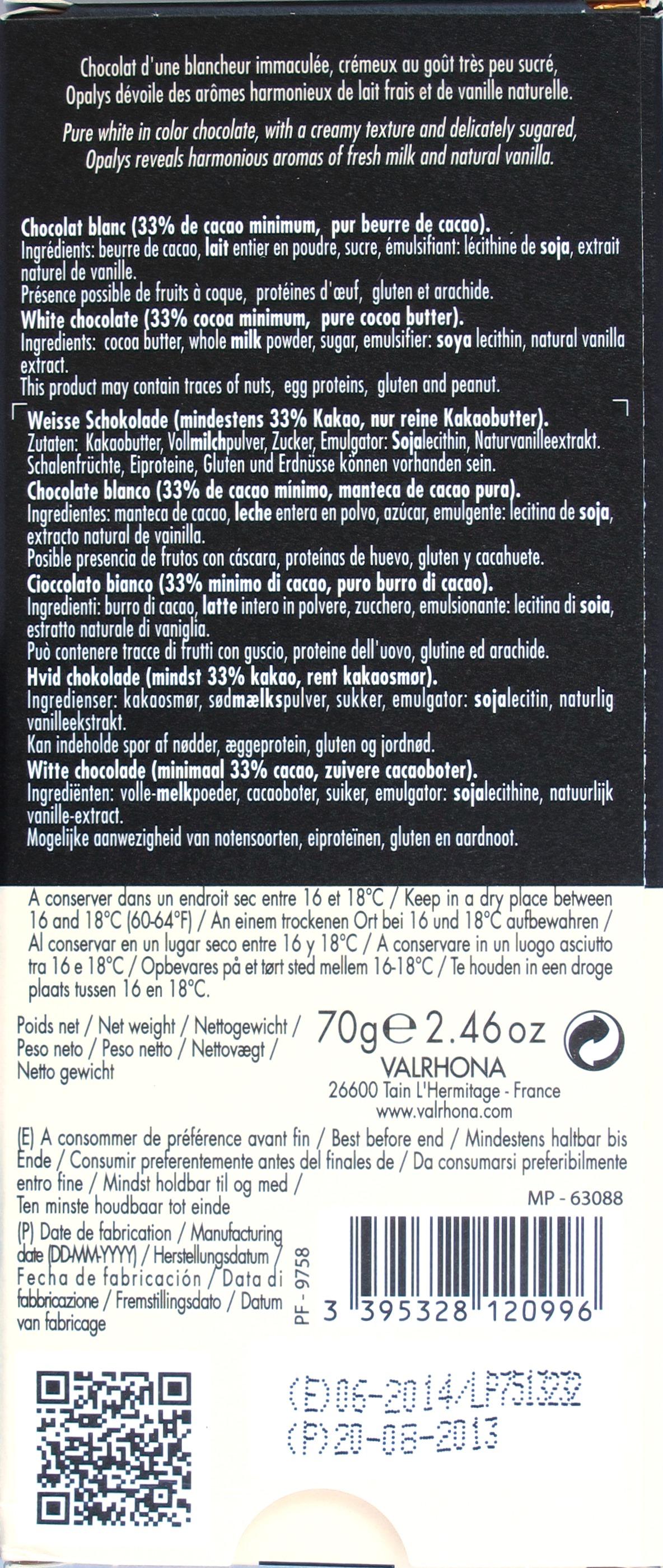 Valrhona Weiße Schokolade Opalys, Rückseite