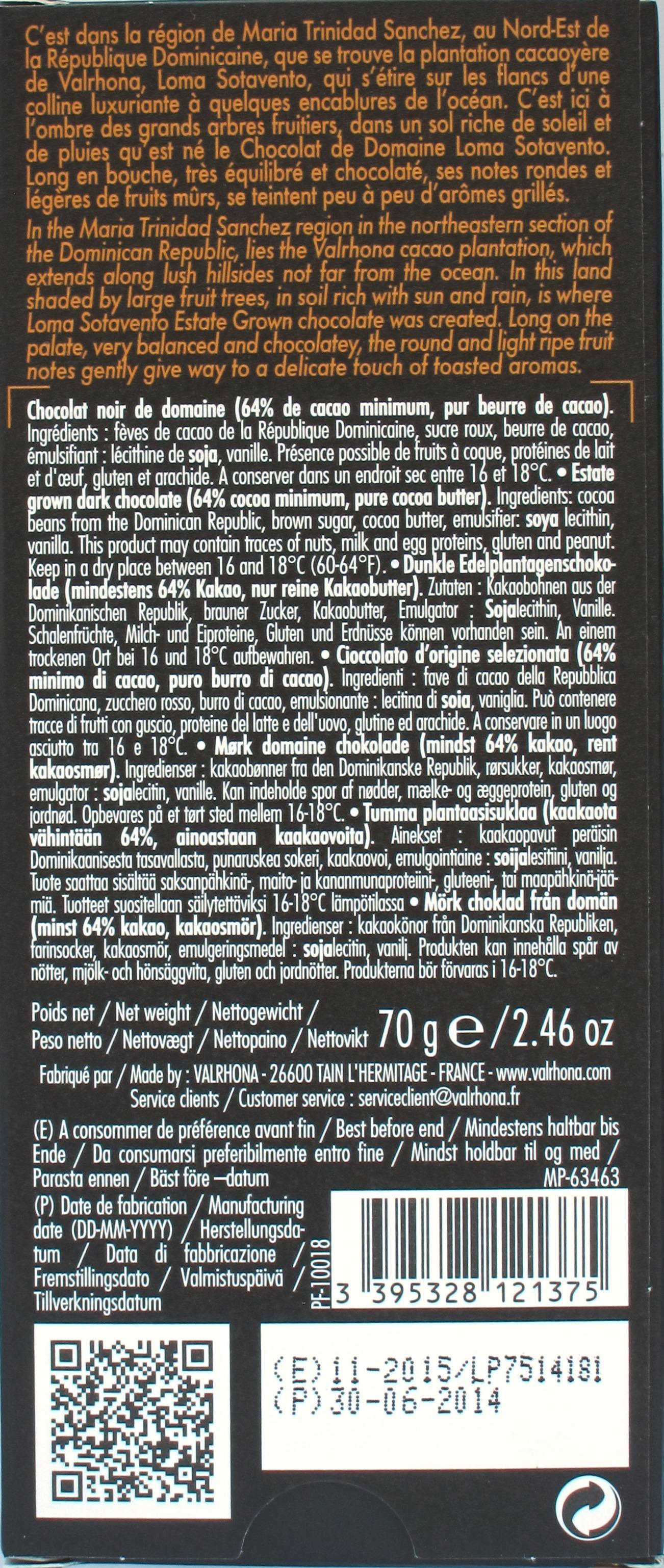 Valrhona 64%-Bitterschokolade Loma Sotavento, Inhalt
