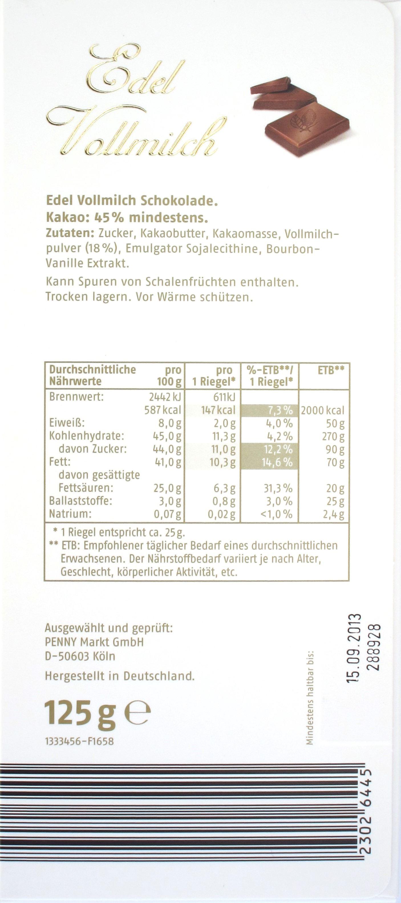 Rückseite: Penny 45% Edel Vollmilchschokolade