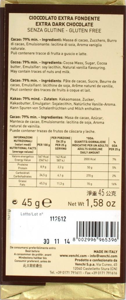 """Venchi 45g-Tafel """"No. 5"""", 79%, Packungsrückseite"""
