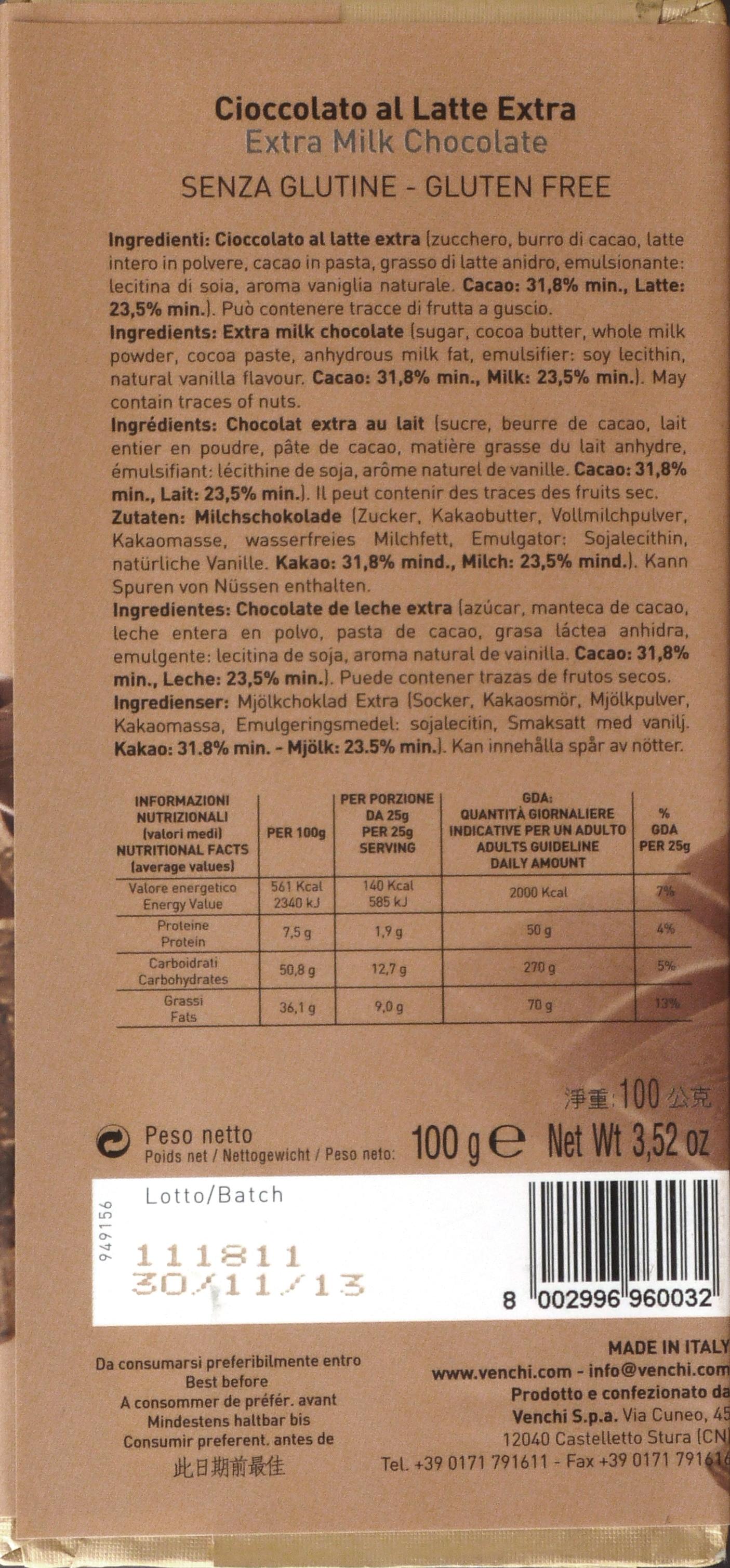 Venchi Cioccolato al Latte Extra Milchschokolade, Rückseite