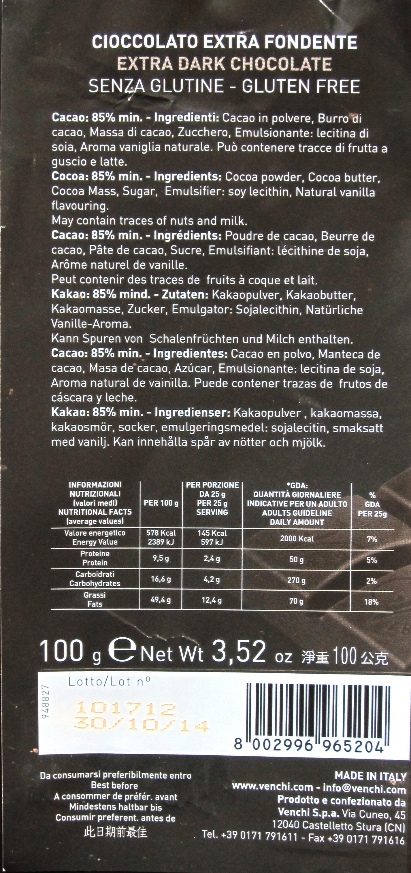 Rückseite: Venchi Extra Fondente 85%
