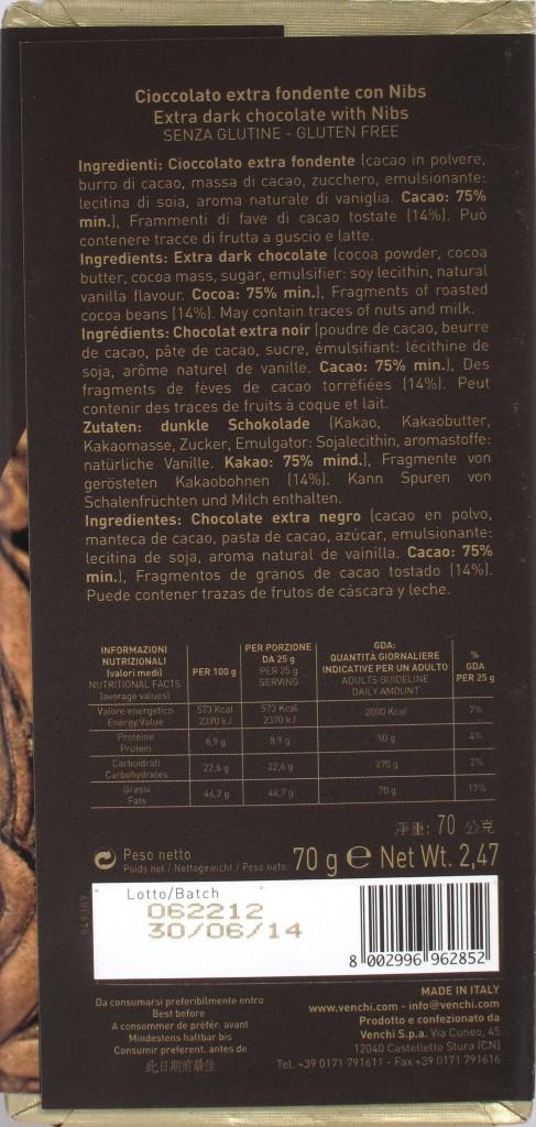 Venchi Bitterschokolade 75% mit Kakaosplittern, Rückseite