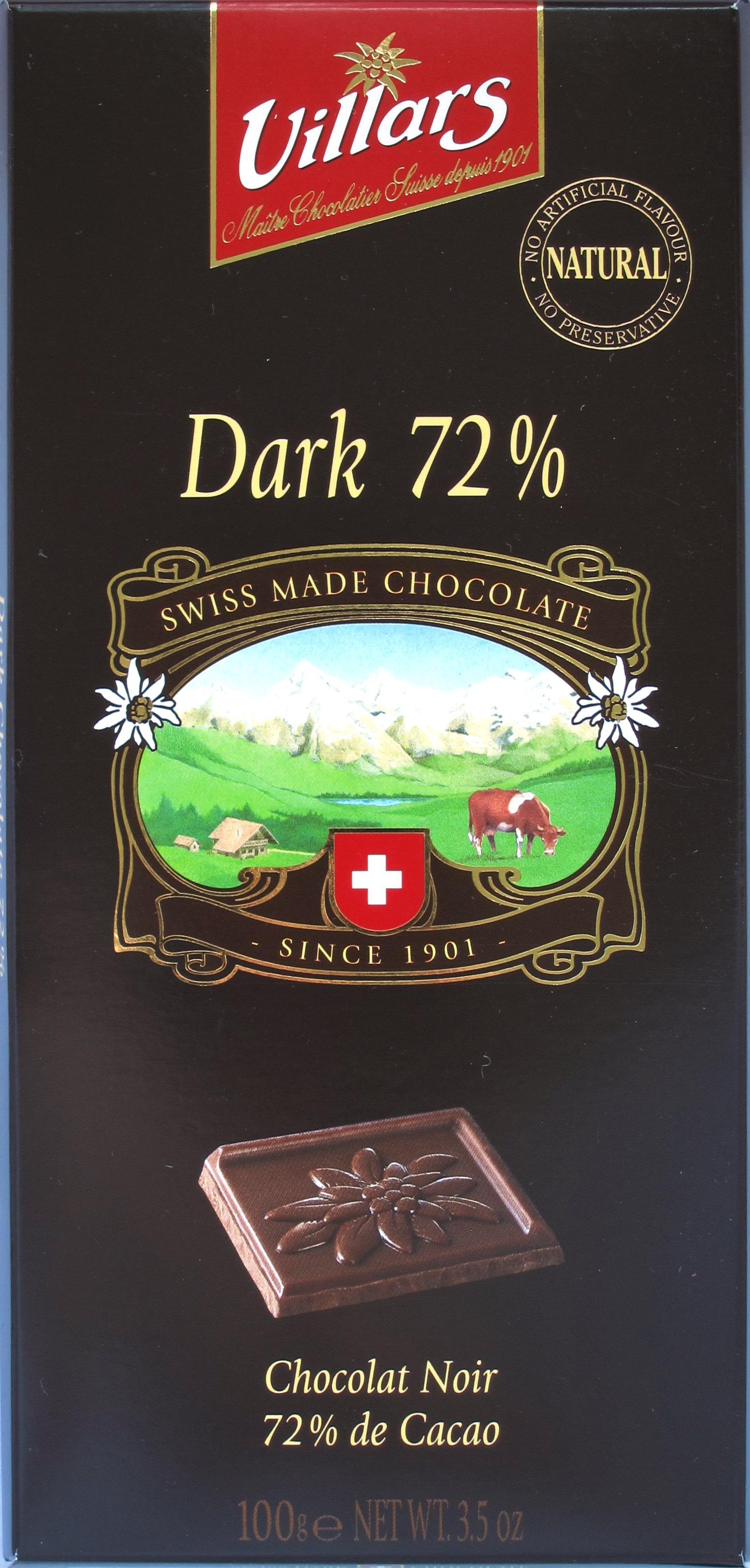 Villars 72%ige Bitterschokolade, Vorderseite