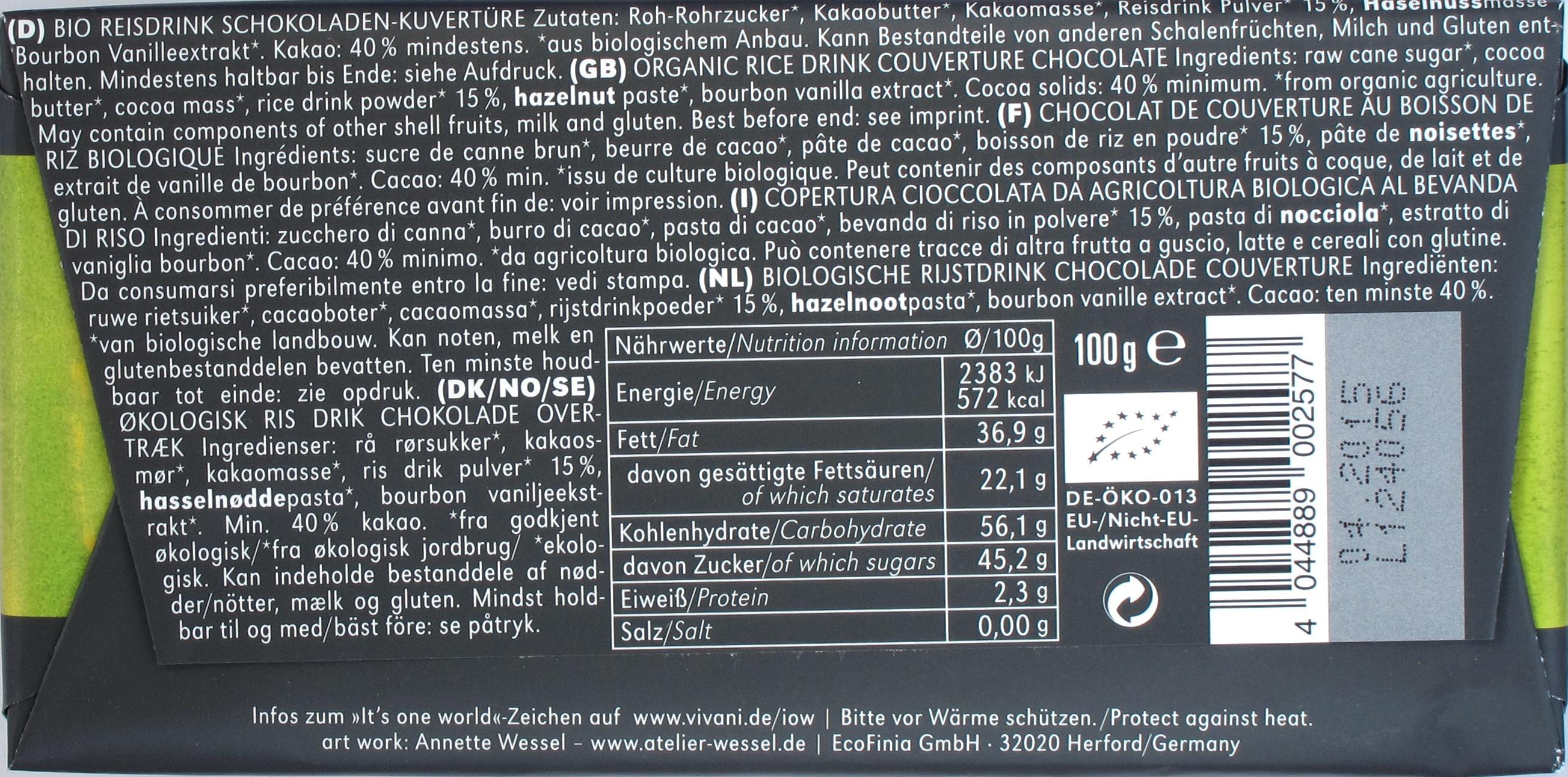 Rückseite: Vivani Reismilchschokolade