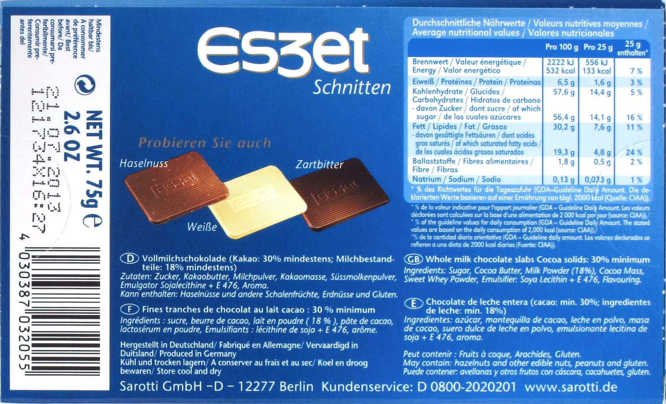Eszet Vollmilch-Brotschnitten: Rückseite