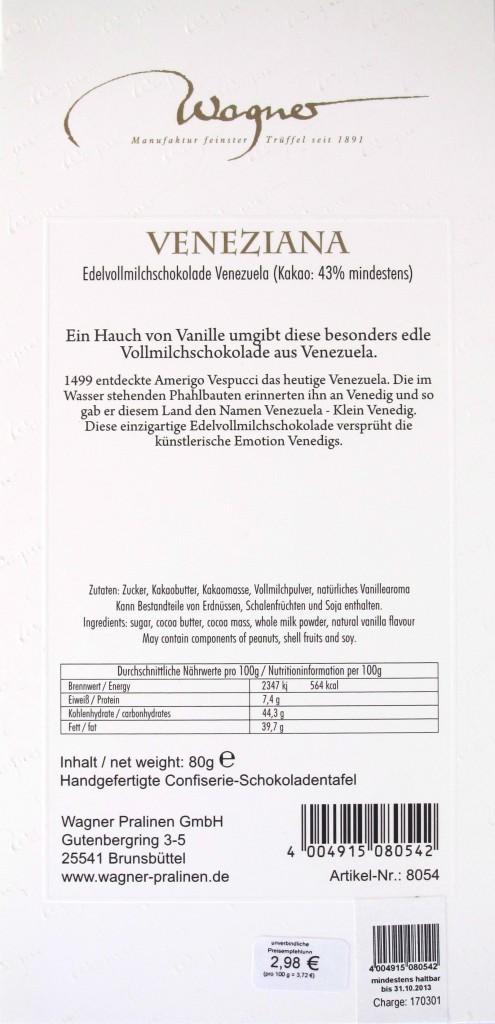 Rückseite Milchschokolade Wagner Veneziana Venezuela 43%