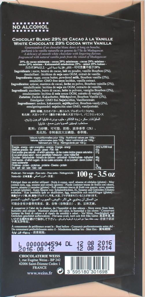 Rückseite Chocolaterie Weiss, Weiße Schokolade