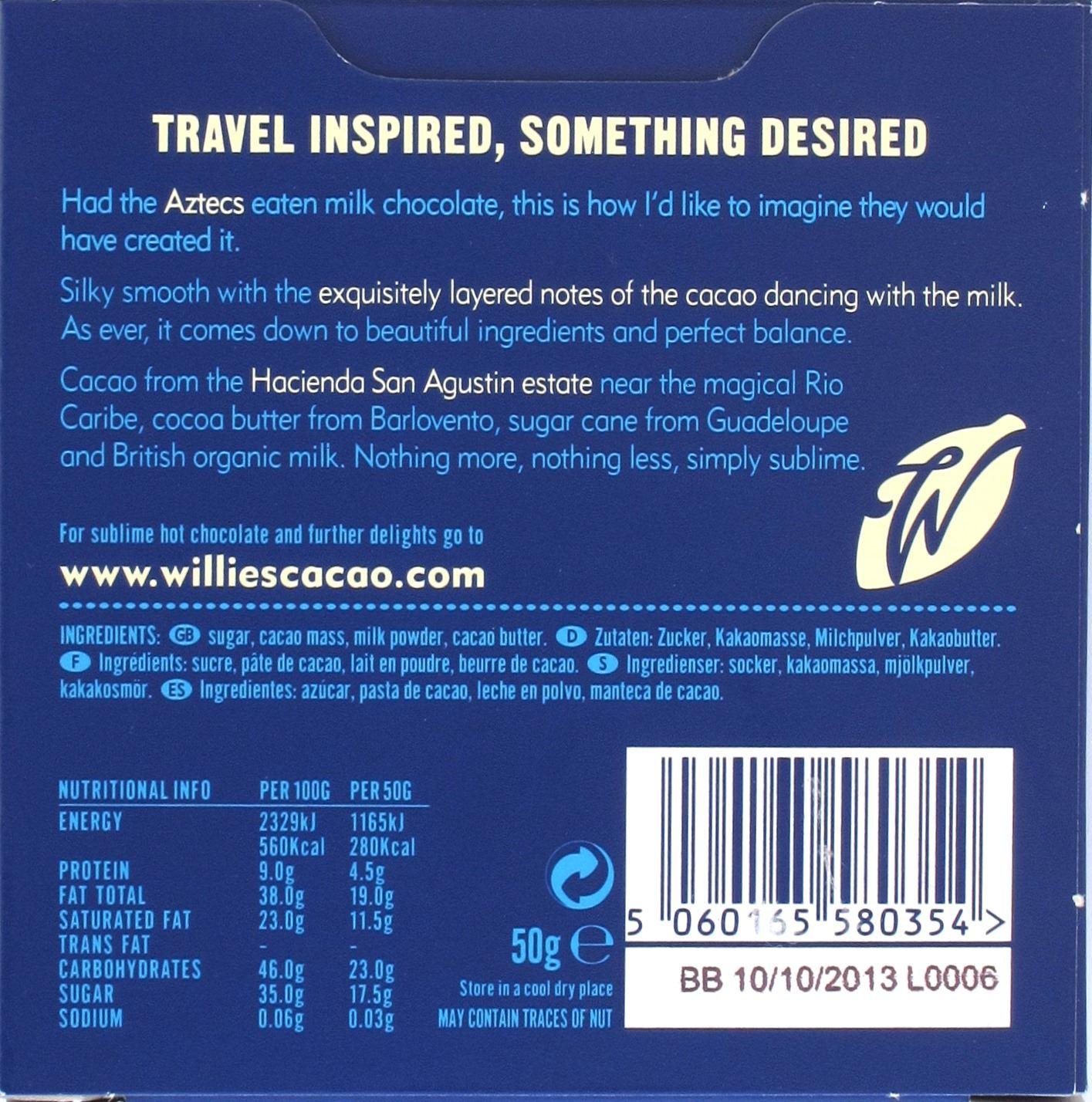 Wille's britische Milchschokolade (44%) - Rückseite