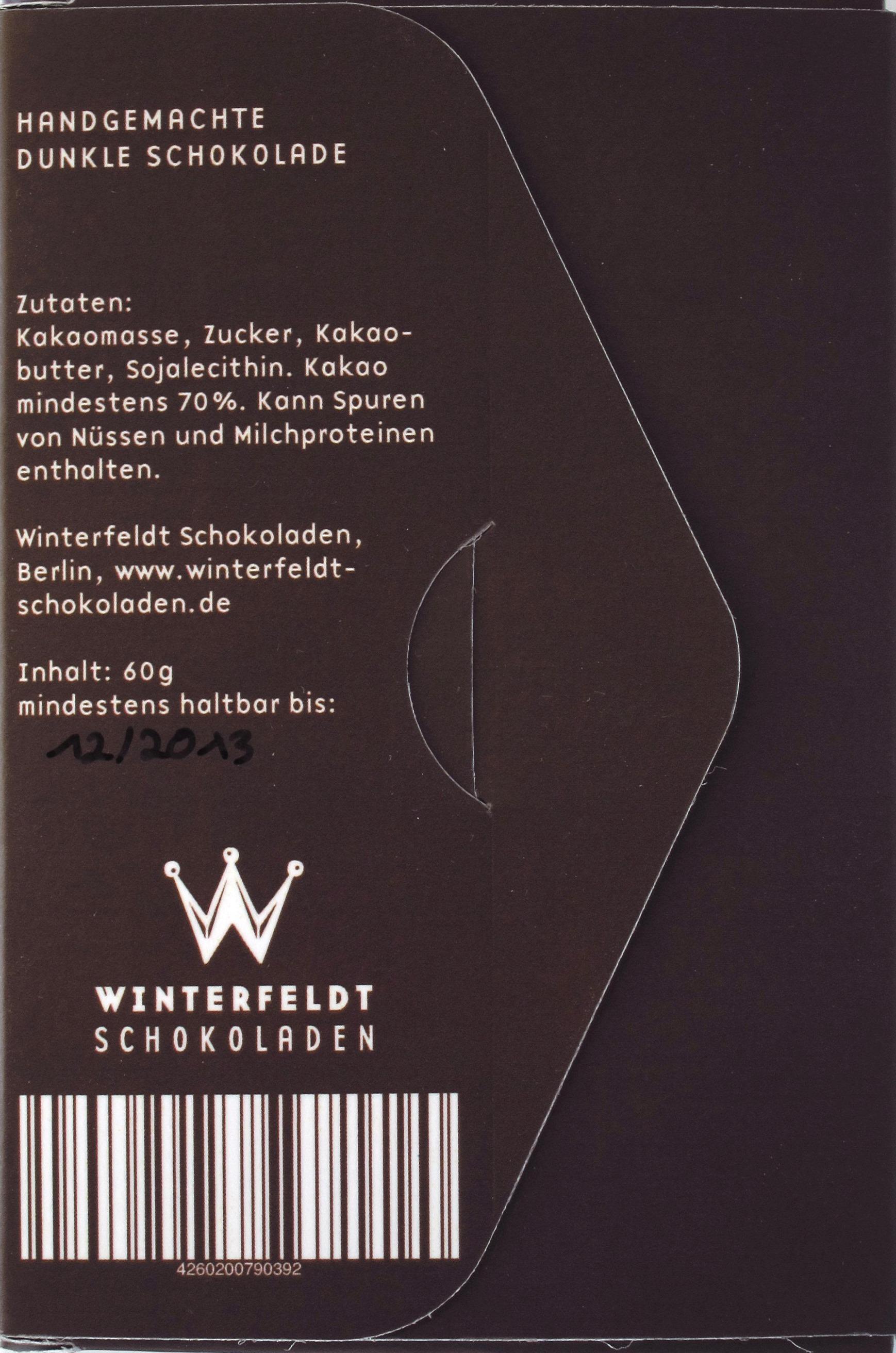 Winterfeldt 70%-Schokolade, Rückseite