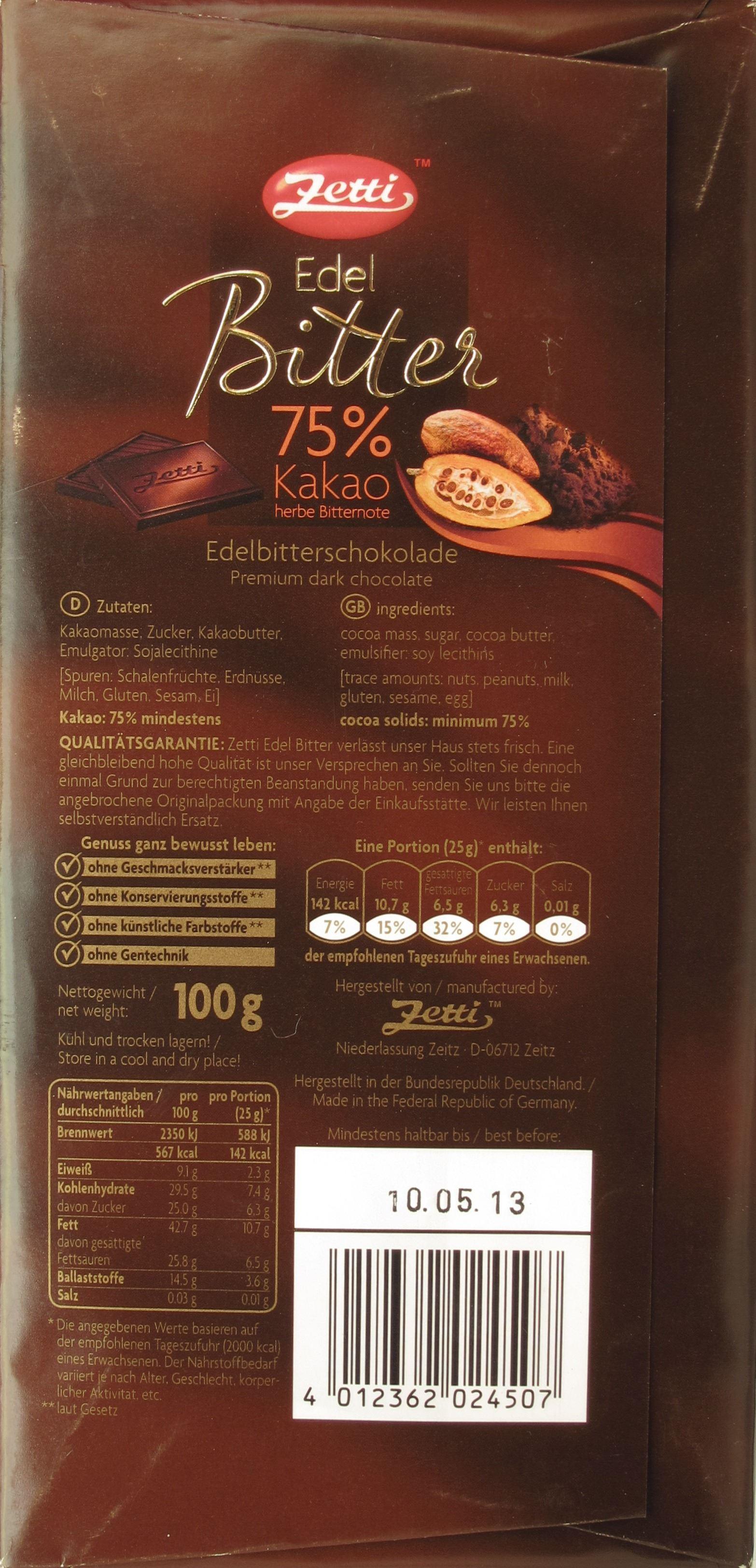Tafel Zetti Bitterschokolade, 75% - Inhaltsangaben