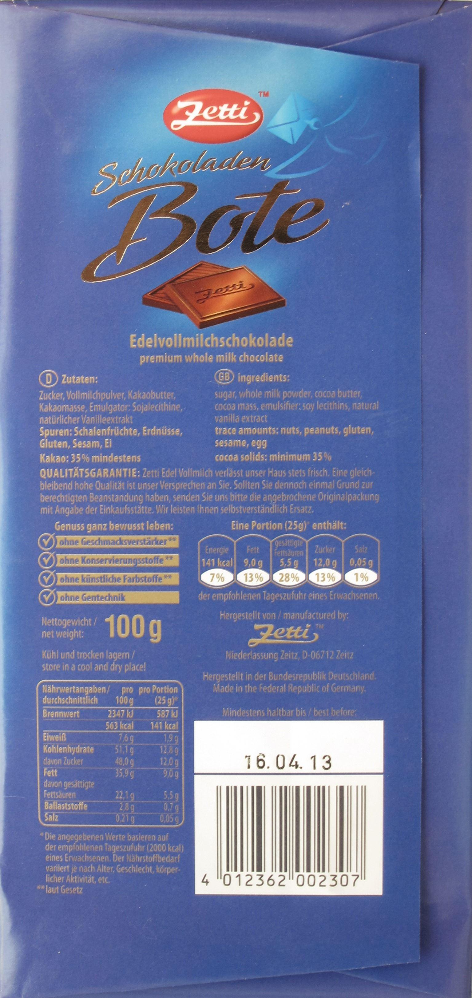 Zetti Vollmilchschokolade - Packungsrückseite