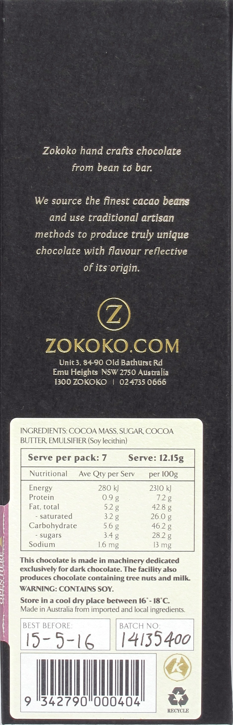 Zokoko Bolivien-Bitterschokolade, Rückseite