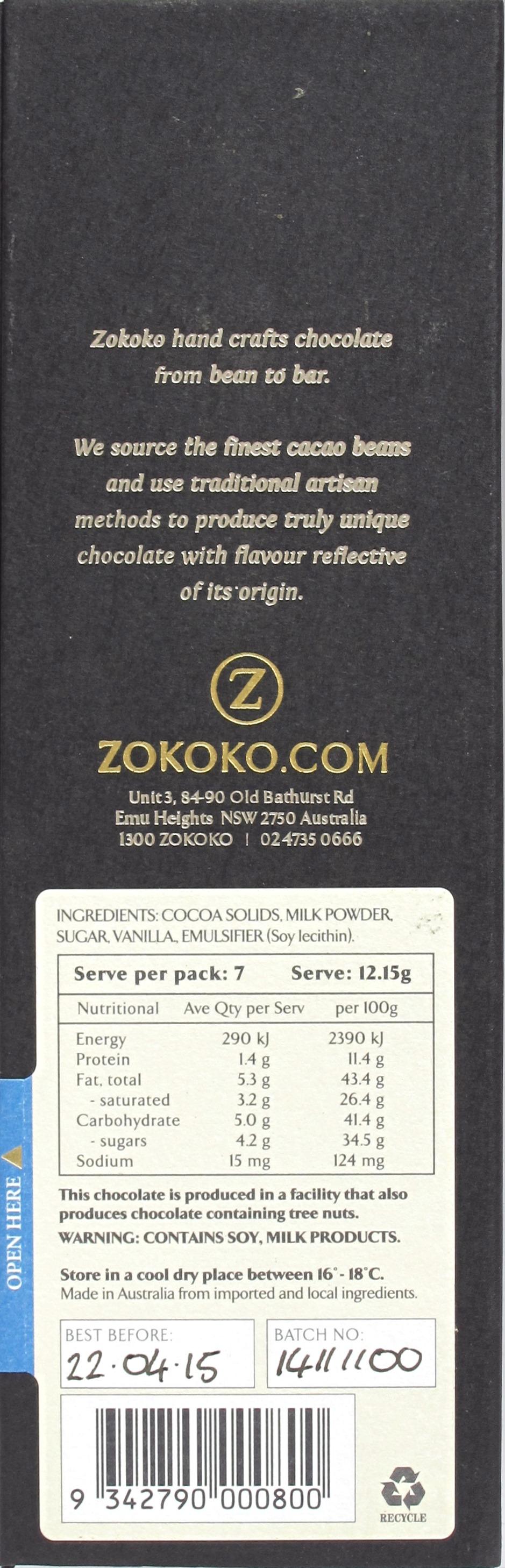 """Rückseite und Inhaltsangaben der Zokoko-Milchschokolade """"Goddess Milk"""""""