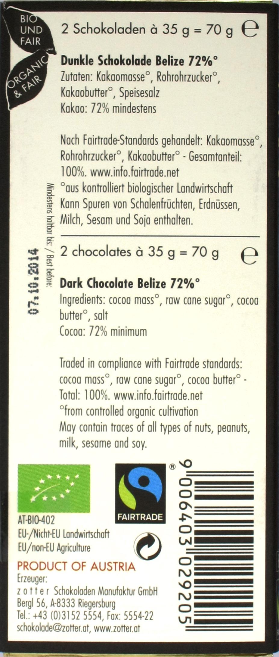 Zotter-Bitterschokolade Labooko Belize Spezial 72%, Rückseite