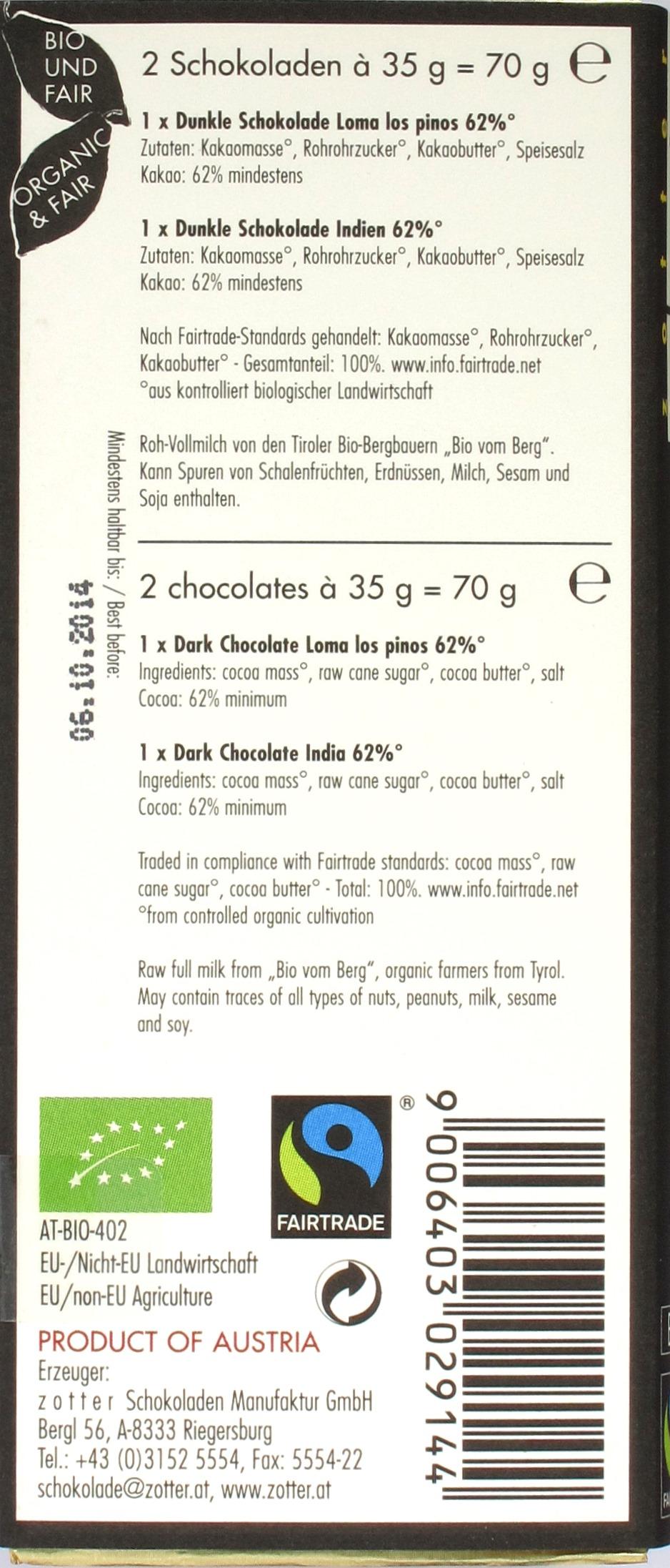 Umschlag und Inhaltsangaben der Zotter-Sorten Loma Los Pinos und Indien, 62% Kakao