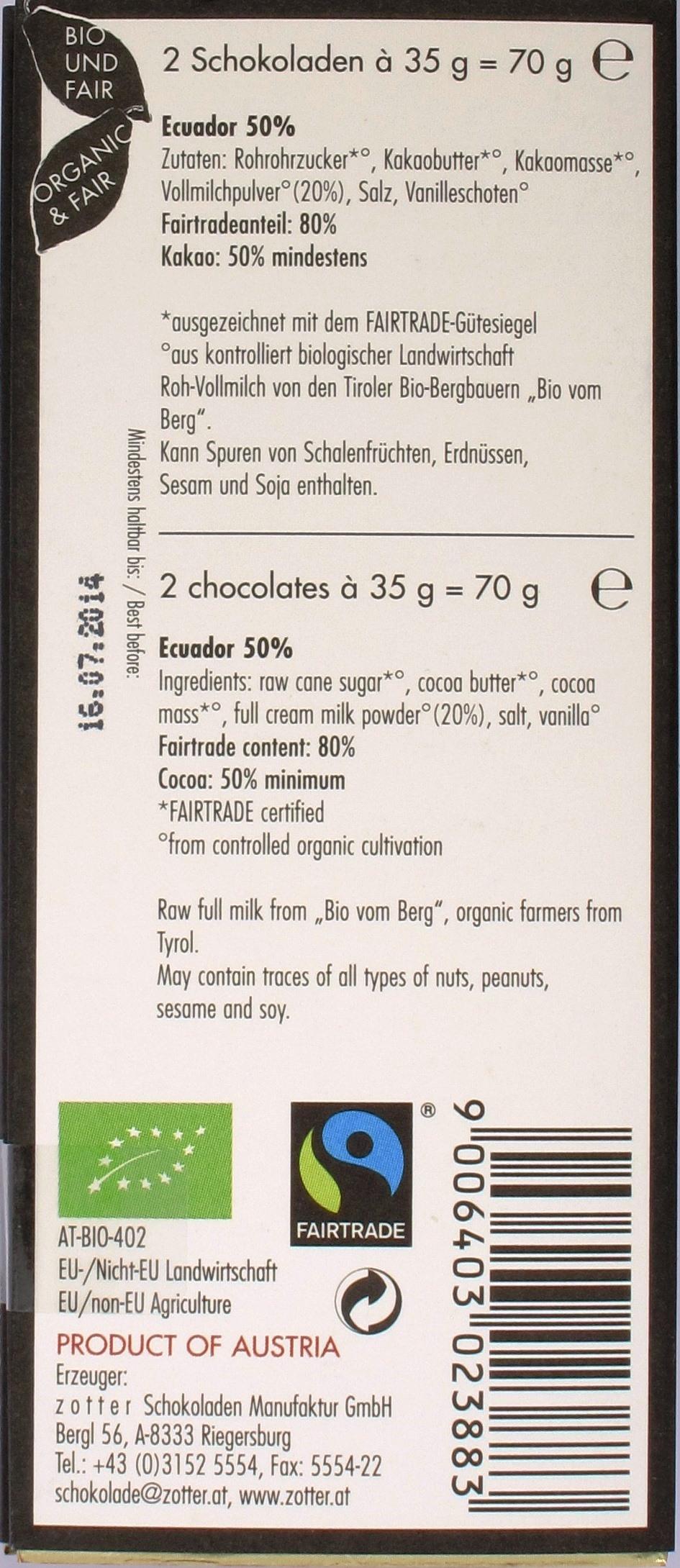 Zotter Labooko Ecuador 50% Milchschokolade, Rückseite