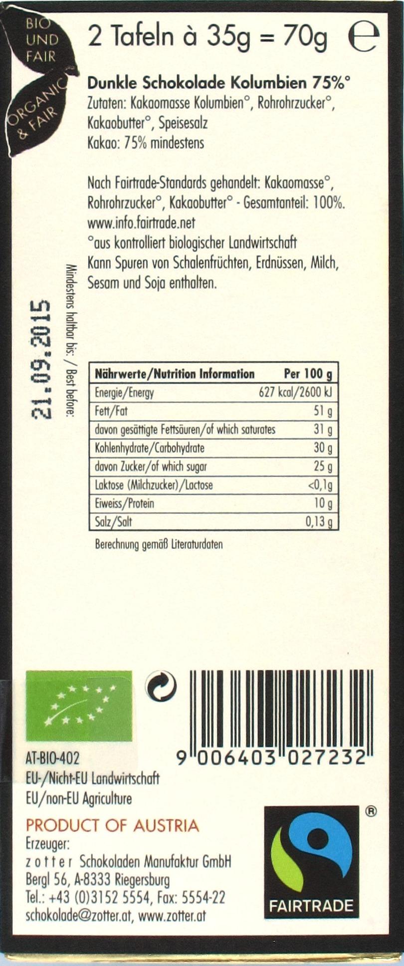 Zotter-75%-Bitterschokolade 'Kolumbien', Rückseite