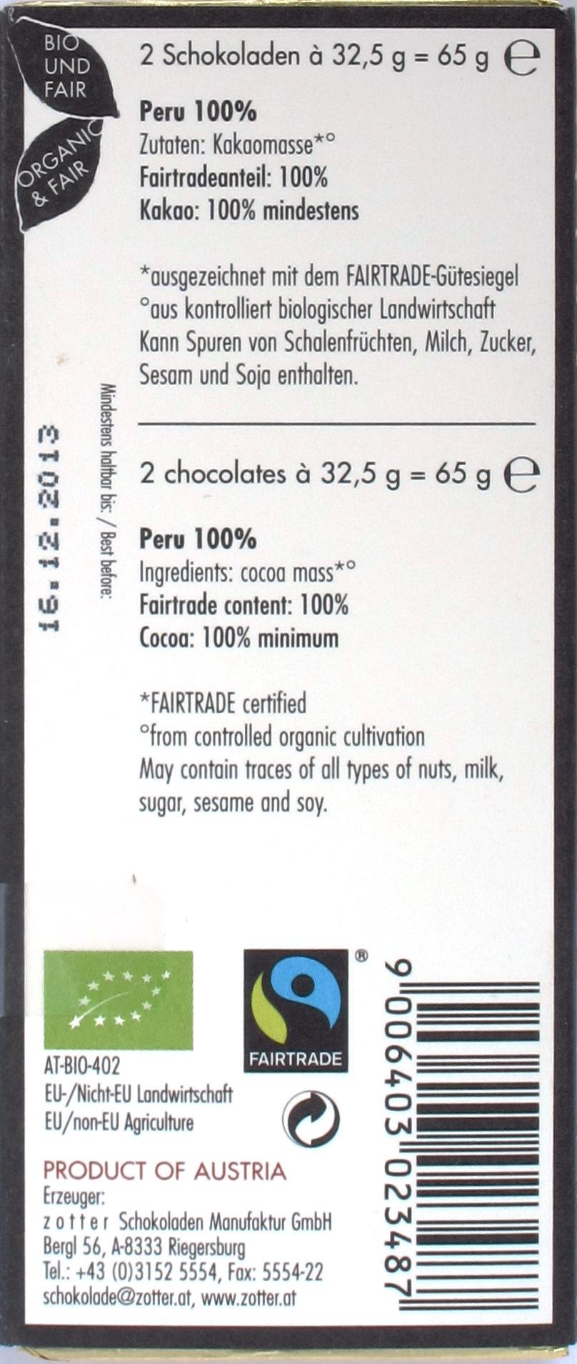 Zotter 100% Peru Bitterschokolade, Rückseite