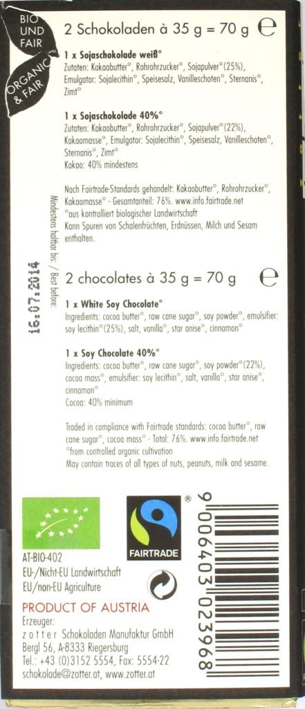 Zotter Labooko Soja weiß & dunkel Schokoladen, Rückseite
