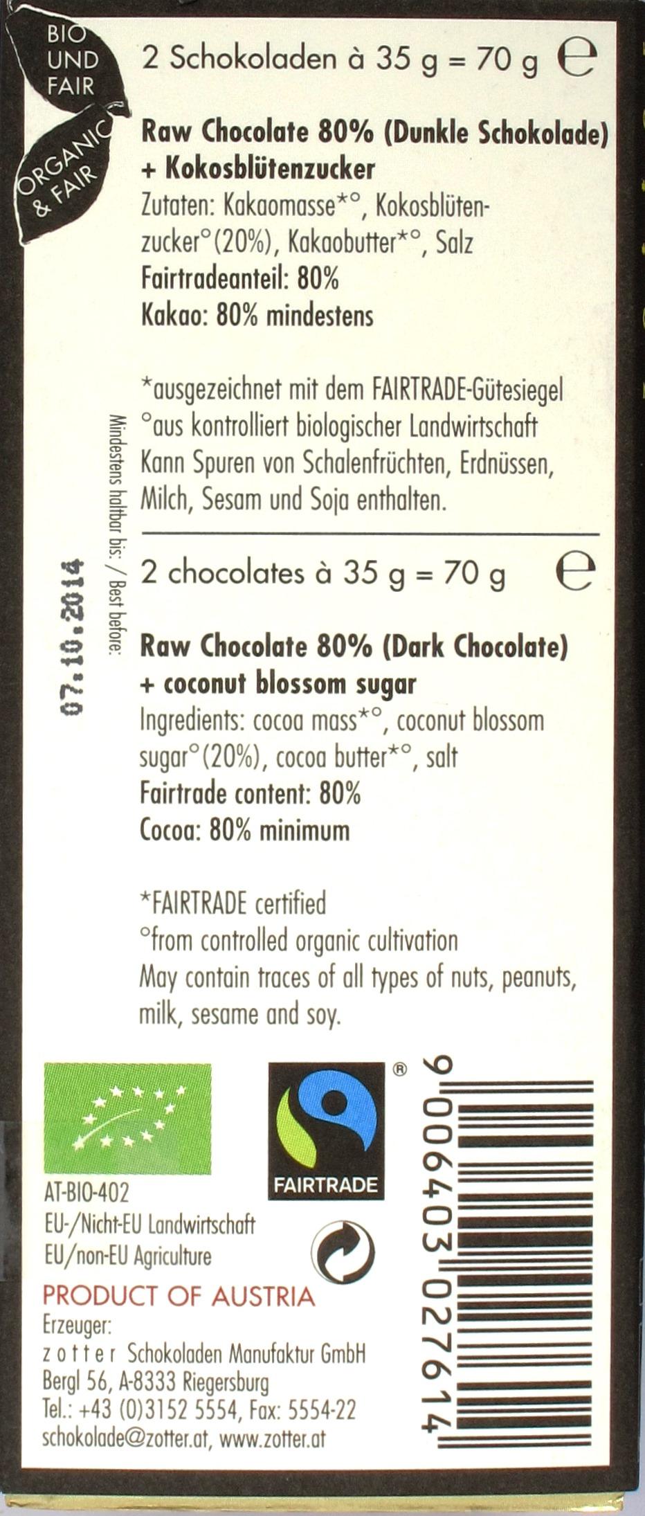 Zotter Rohkostschokolade 80%, Rückseite